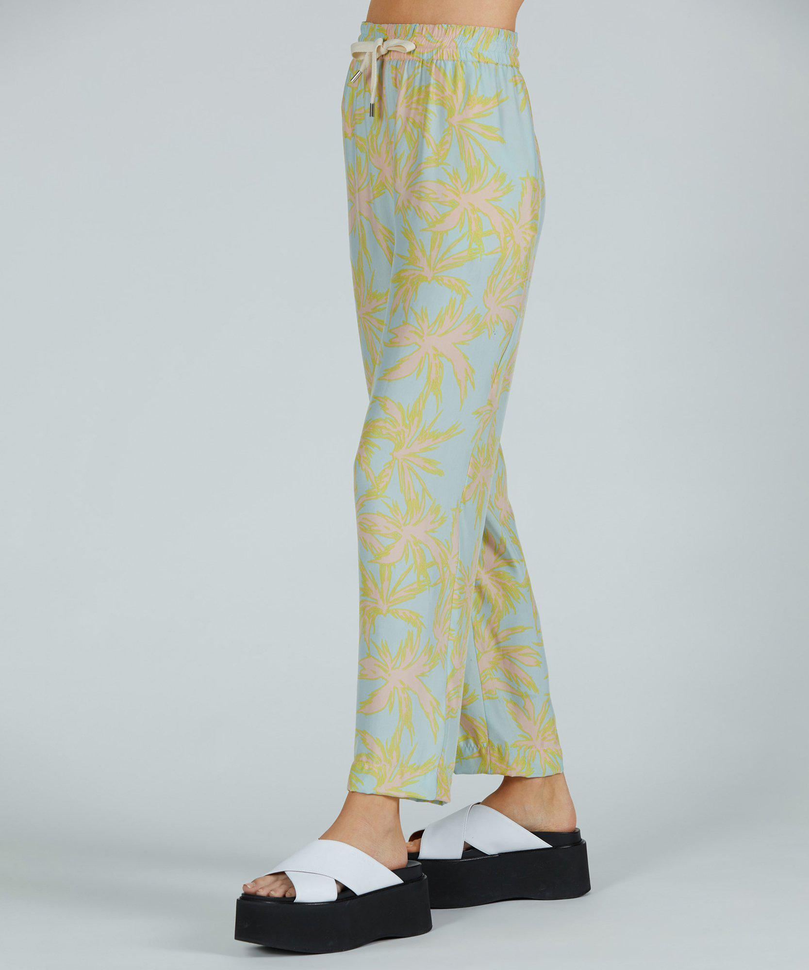 Palm Print Silk Charmeuse Pull-On Pant - Surf Combo 1