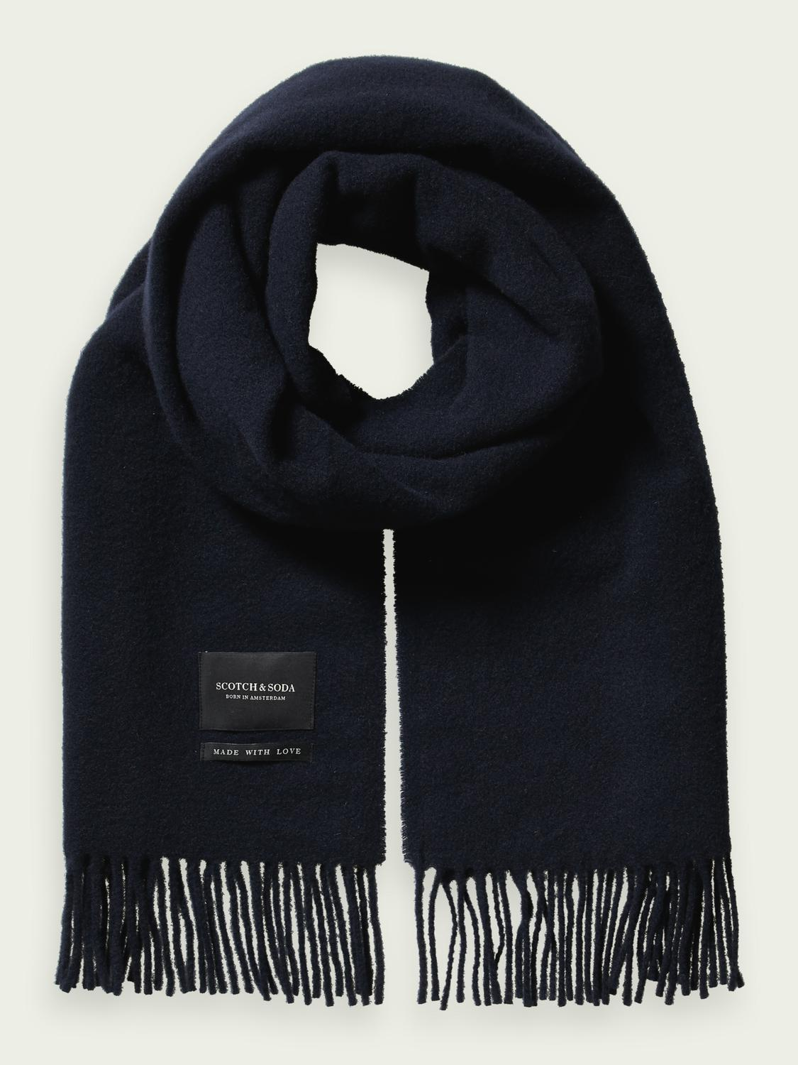 Fringed woven wool scarf