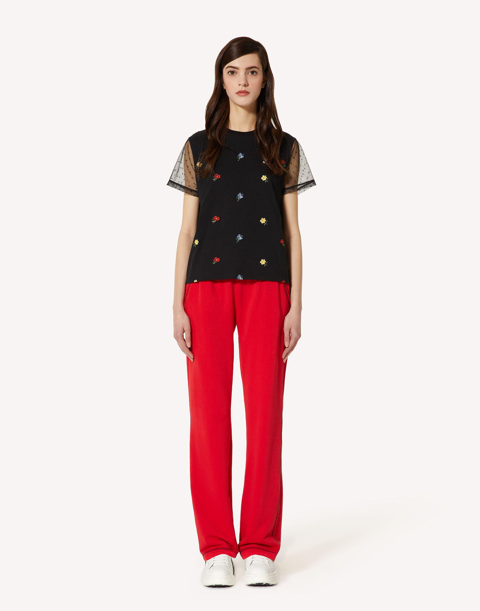 T-SHIRT WITH DELICATE FLOWERS EMBROIDERY