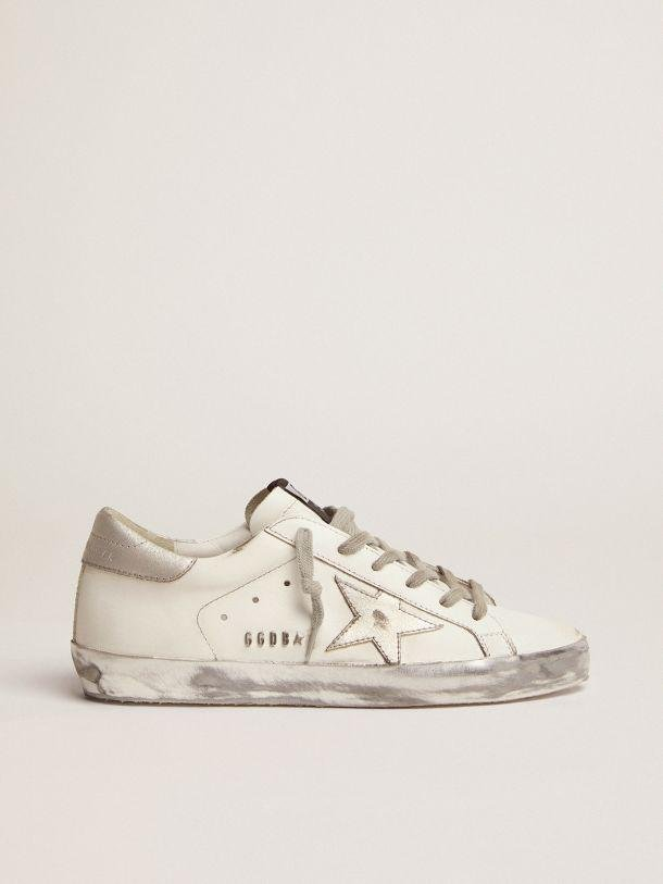 Super-Star sneakers with silver sparkle foxing and metal stud lettering