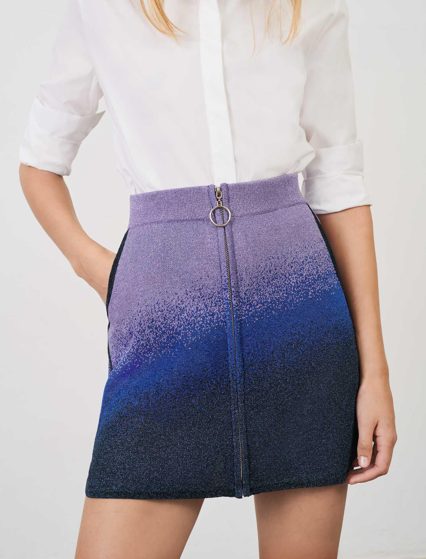 LUREX KNITTED SKIRT WITH ZIP 1