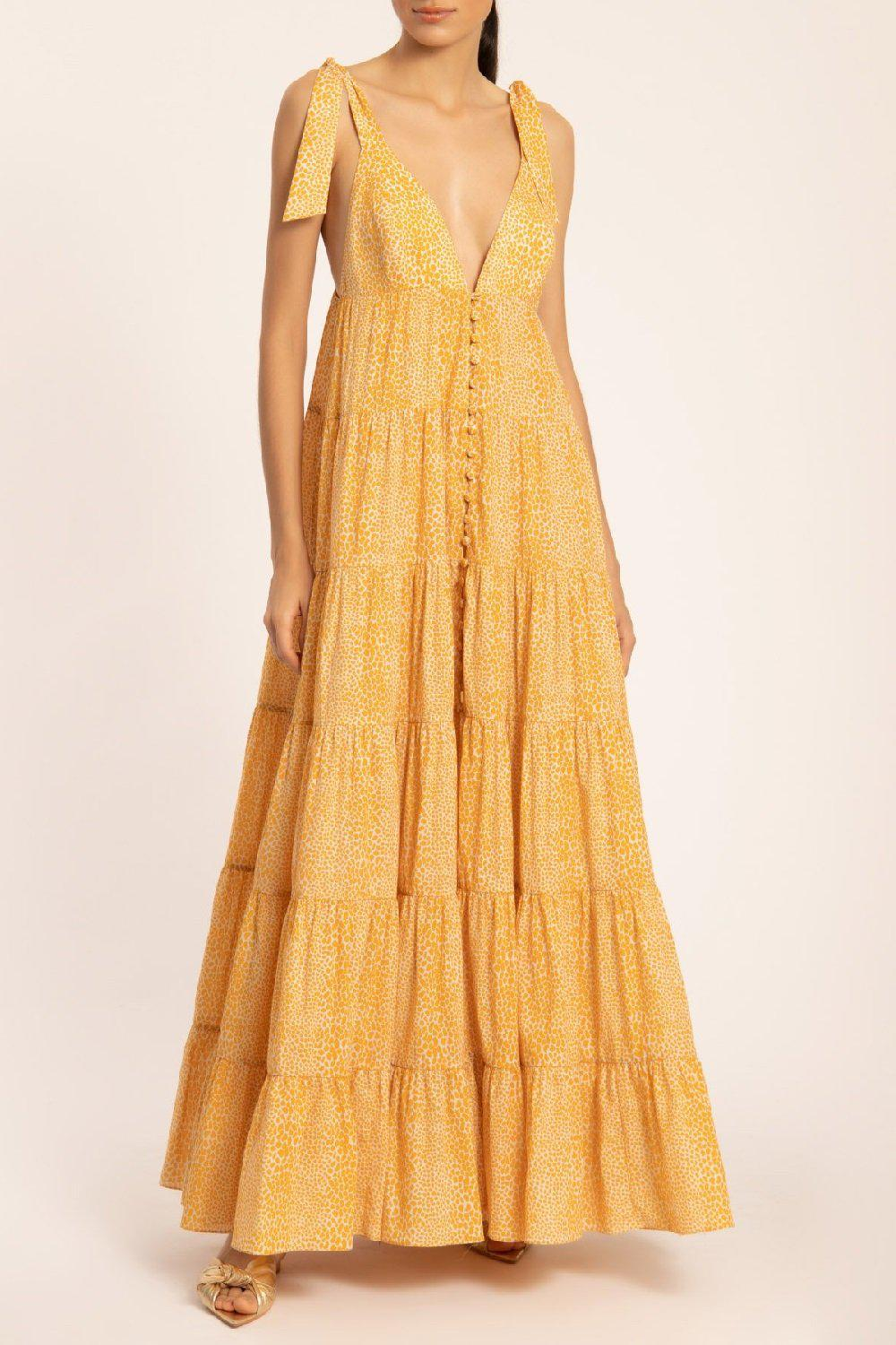 Tortoise Long Dress With Straps