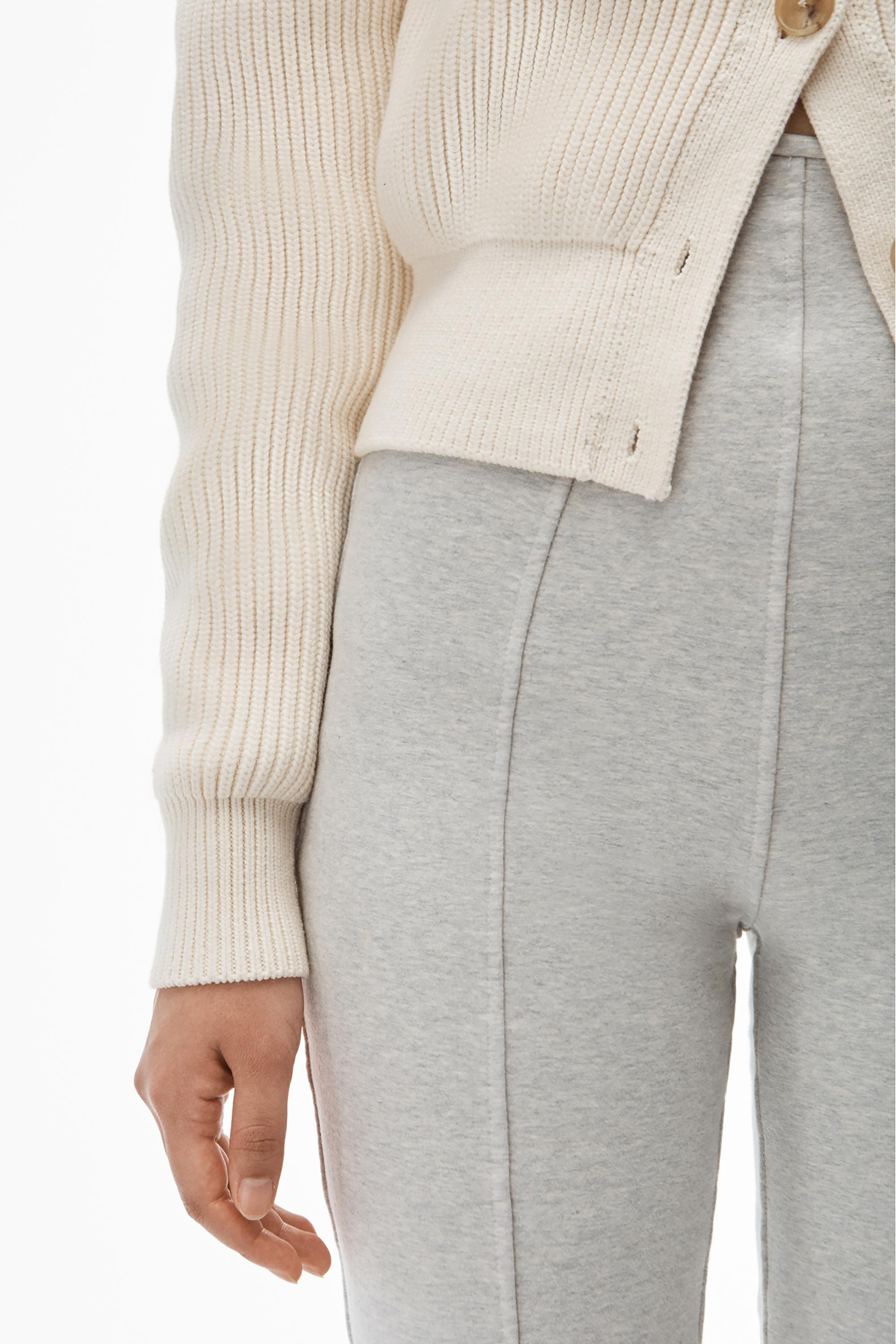 crewneck cardigan in ribbed cotton chainette 4