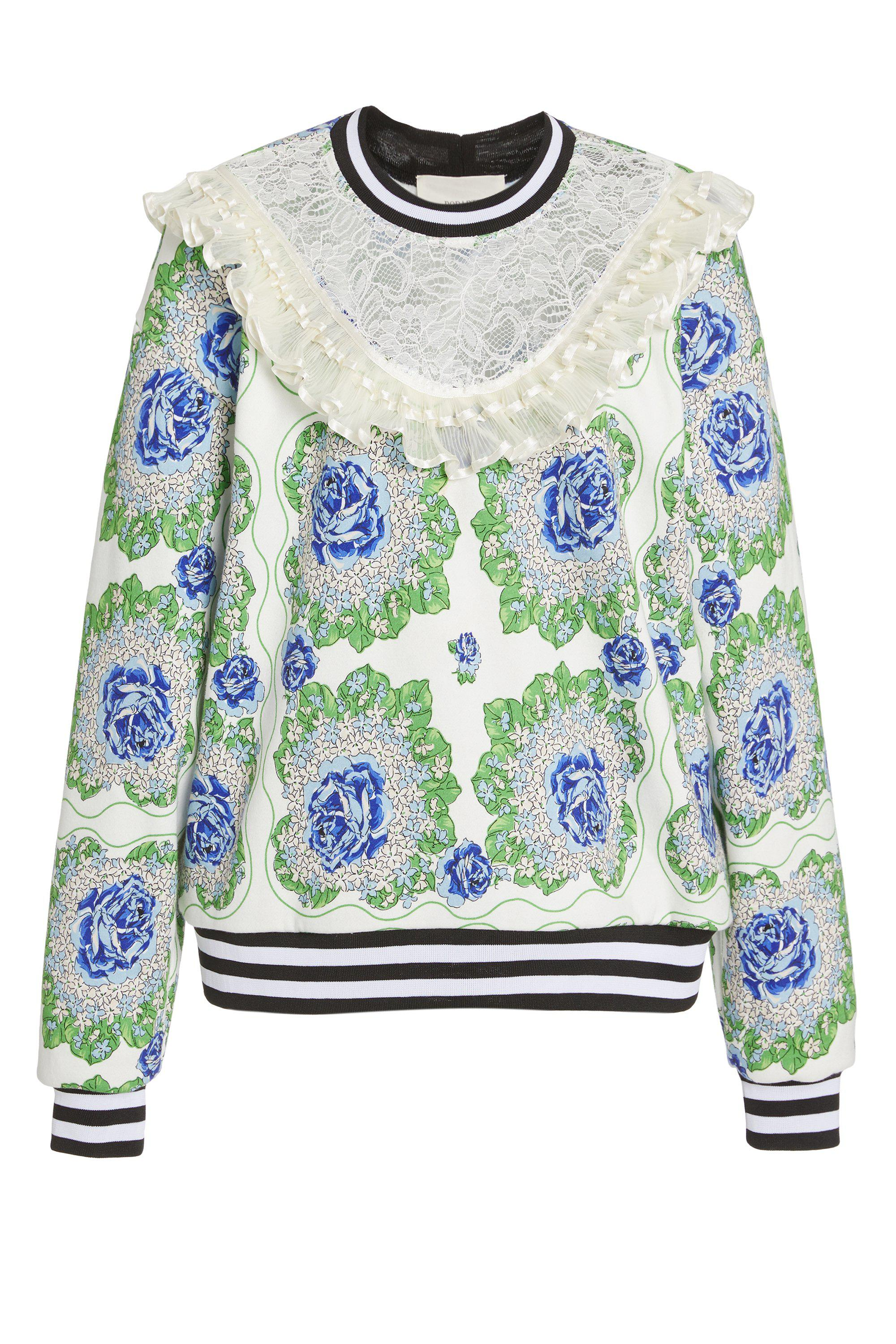 BLUE AND GREEN FLORAL PRINTED SWEATSHIRT 3