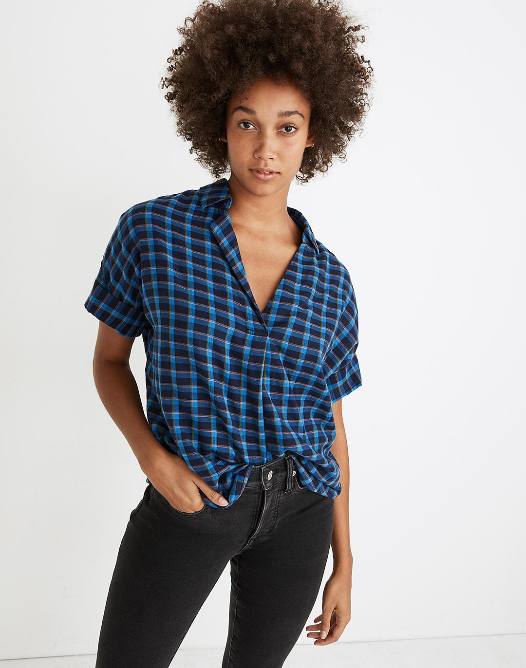 Double-Faced Park Popover Shirt in Plaid
