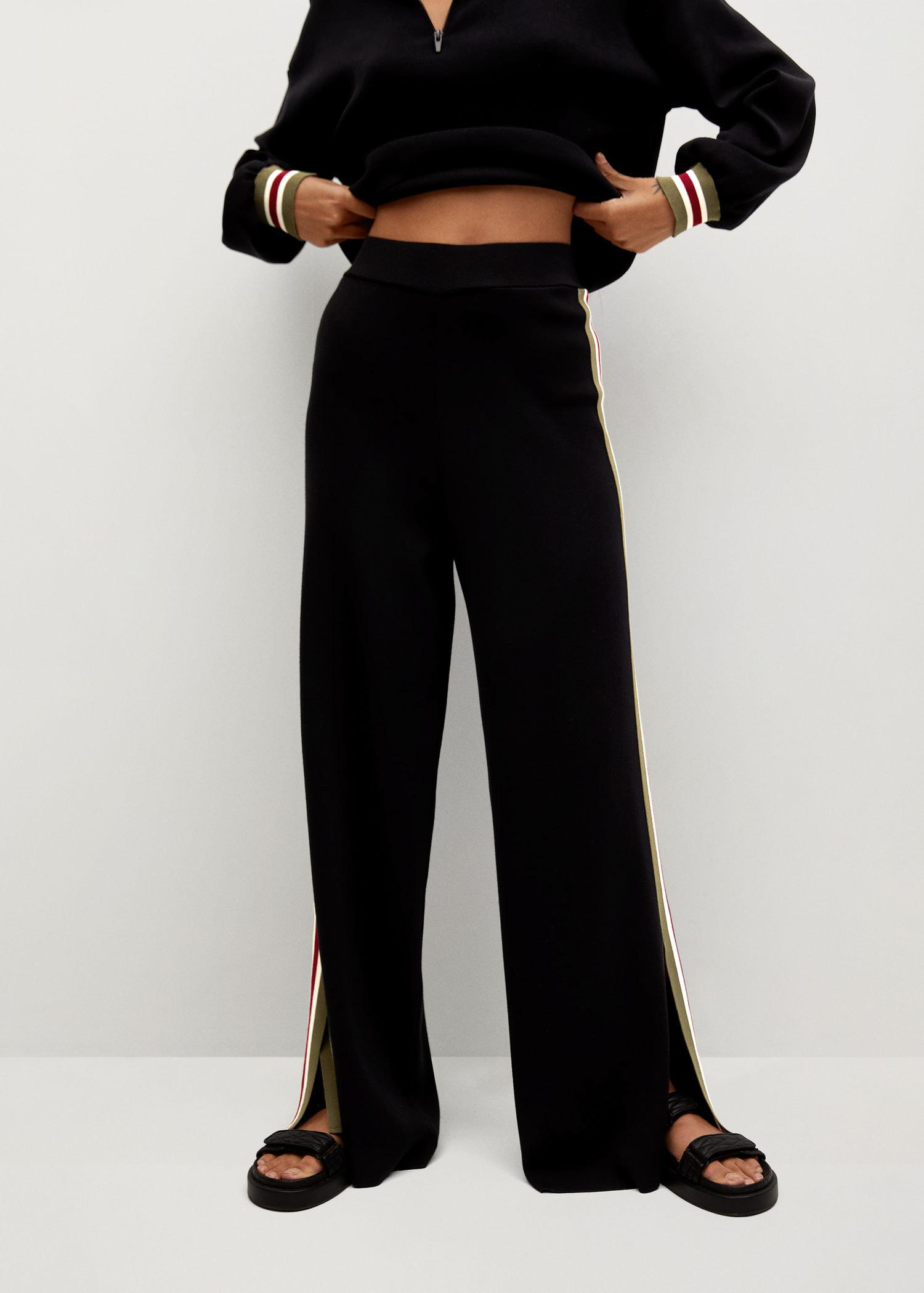 Contrasting bands knit trousers