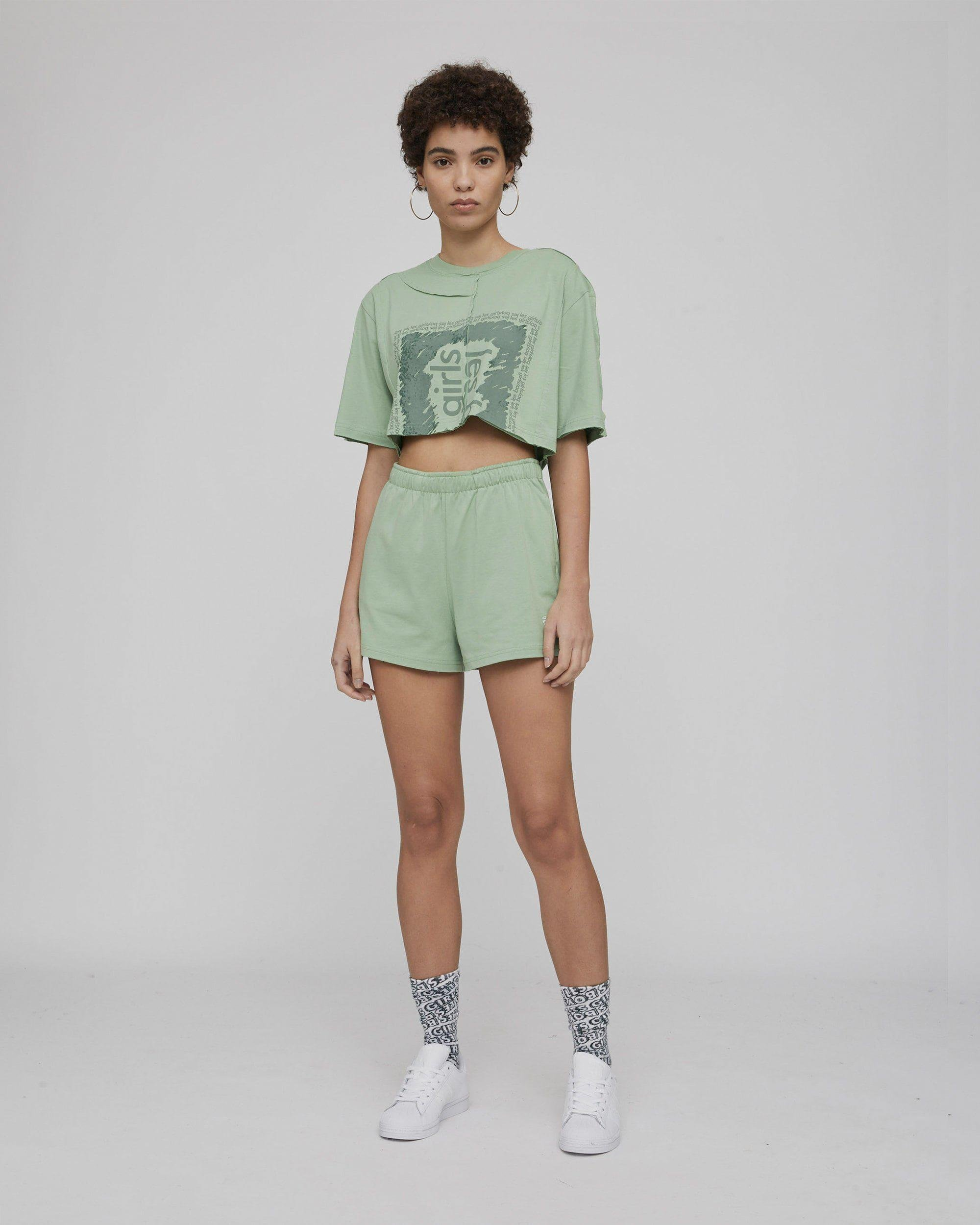 deconstructed loose shorts sage 3