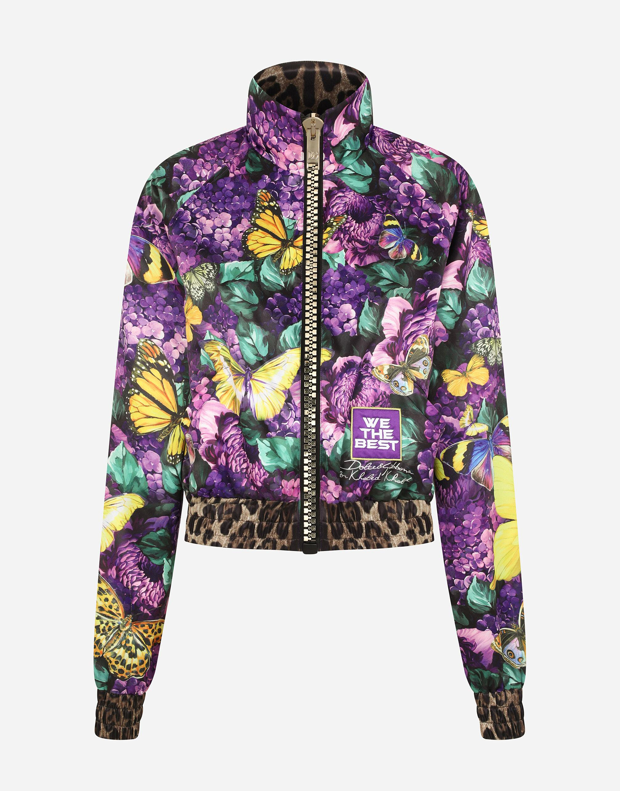 Cropped butterfly-print bomber jacket 8