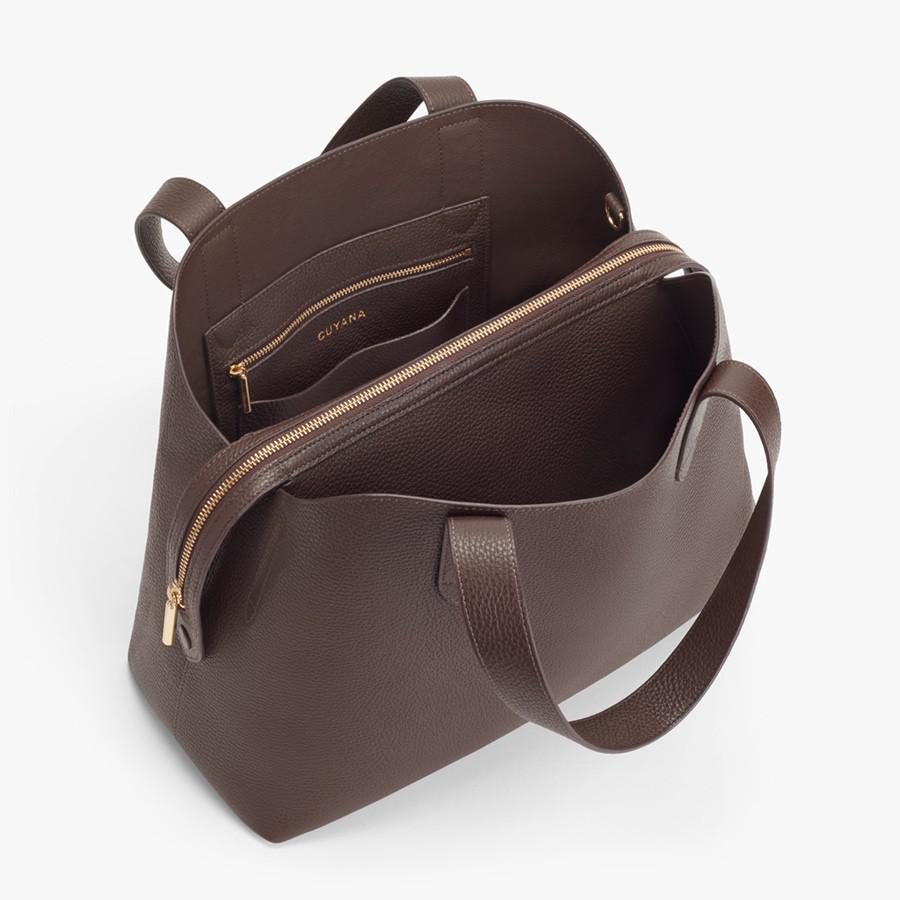 Women's Zippered Satchel Bag in Chocolate | Pebbled Leather by Cuyana 1