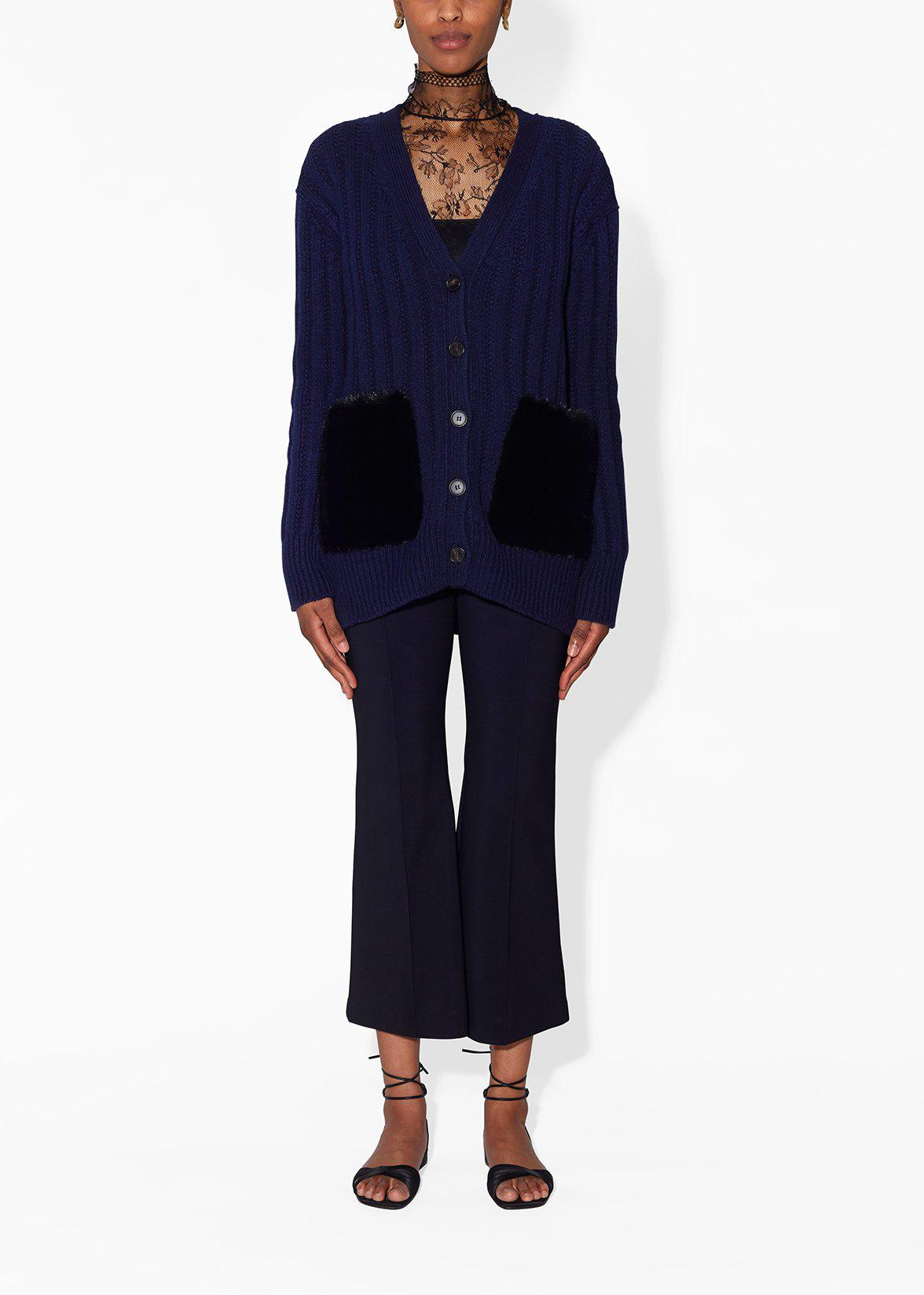 CARDIGAN IN WOOL CASHMERE WITH MINK POCKETS