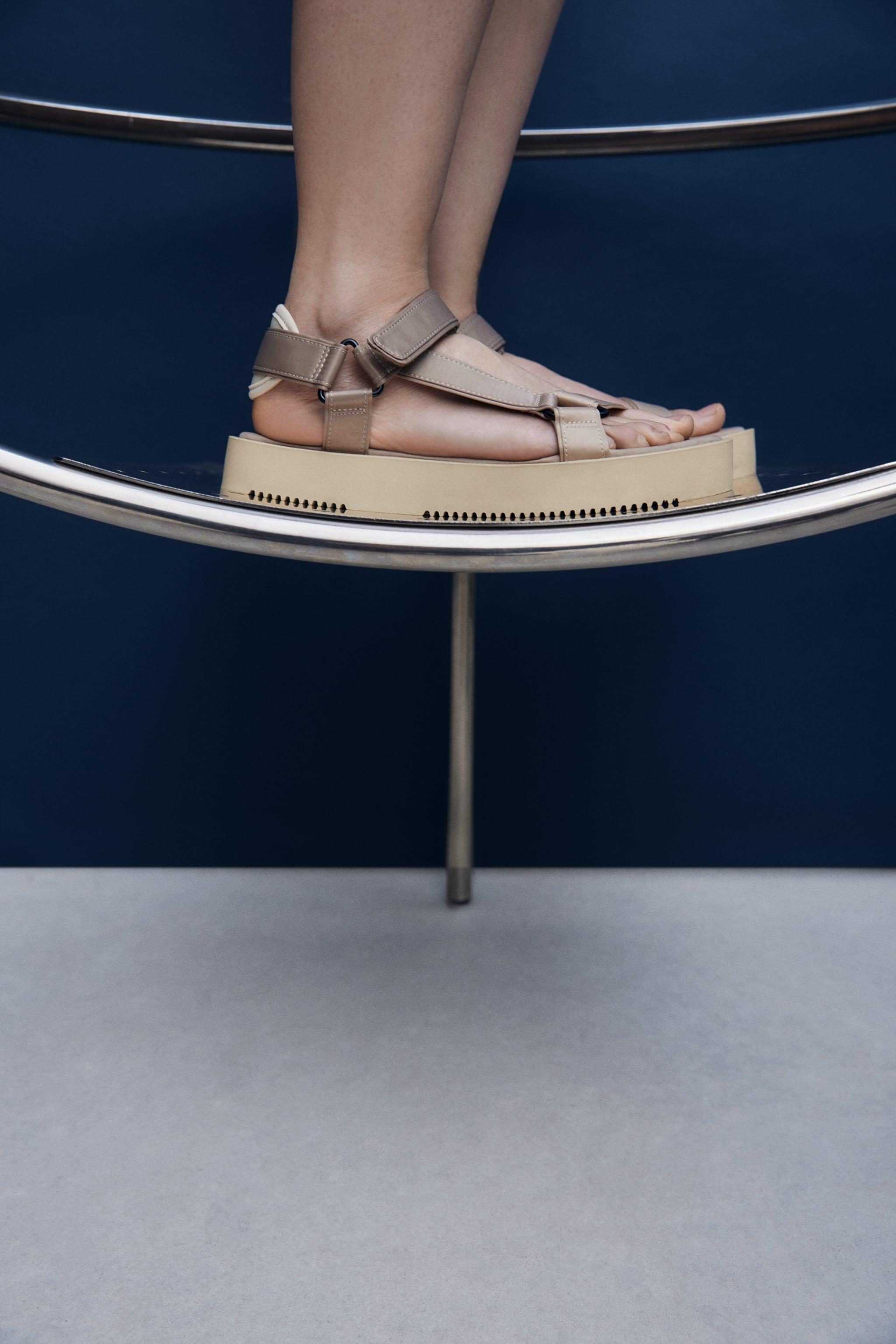 STRAPPY SATIN EFFECT CHUNKY SANDALS 1