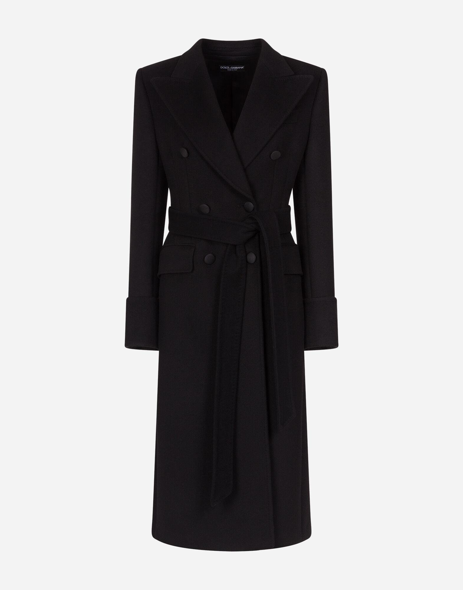Double-breasted woolen cloth belted coat 2
