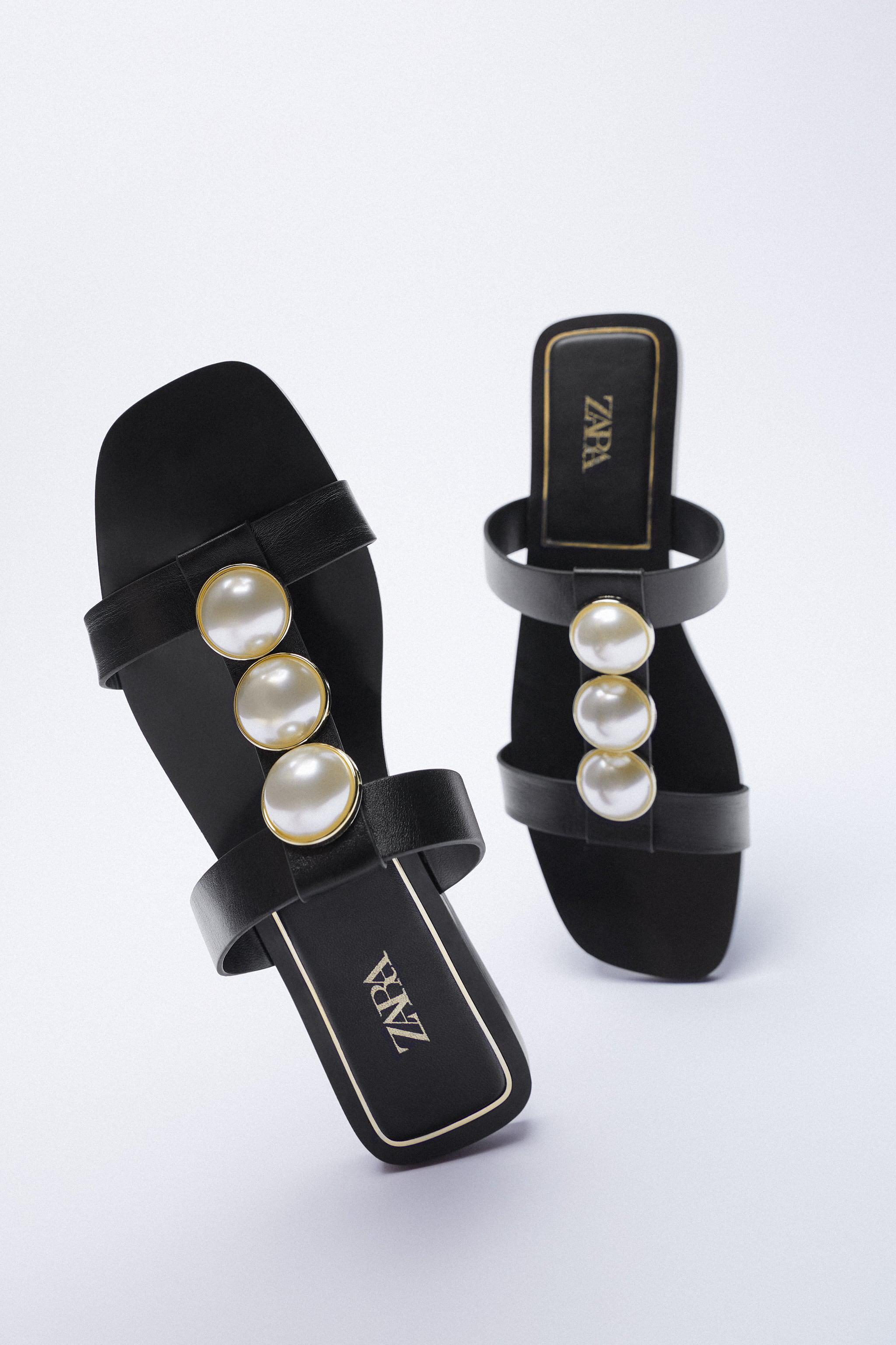 LOW HEEL LEATHER SANDALS WITH PEARL STRAPS 4