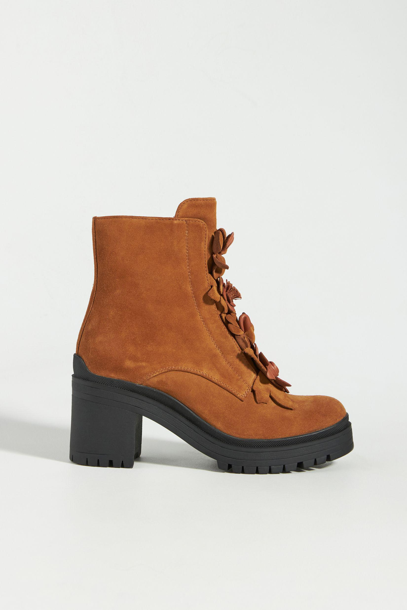 Floral Heeled Lace-Up Boots