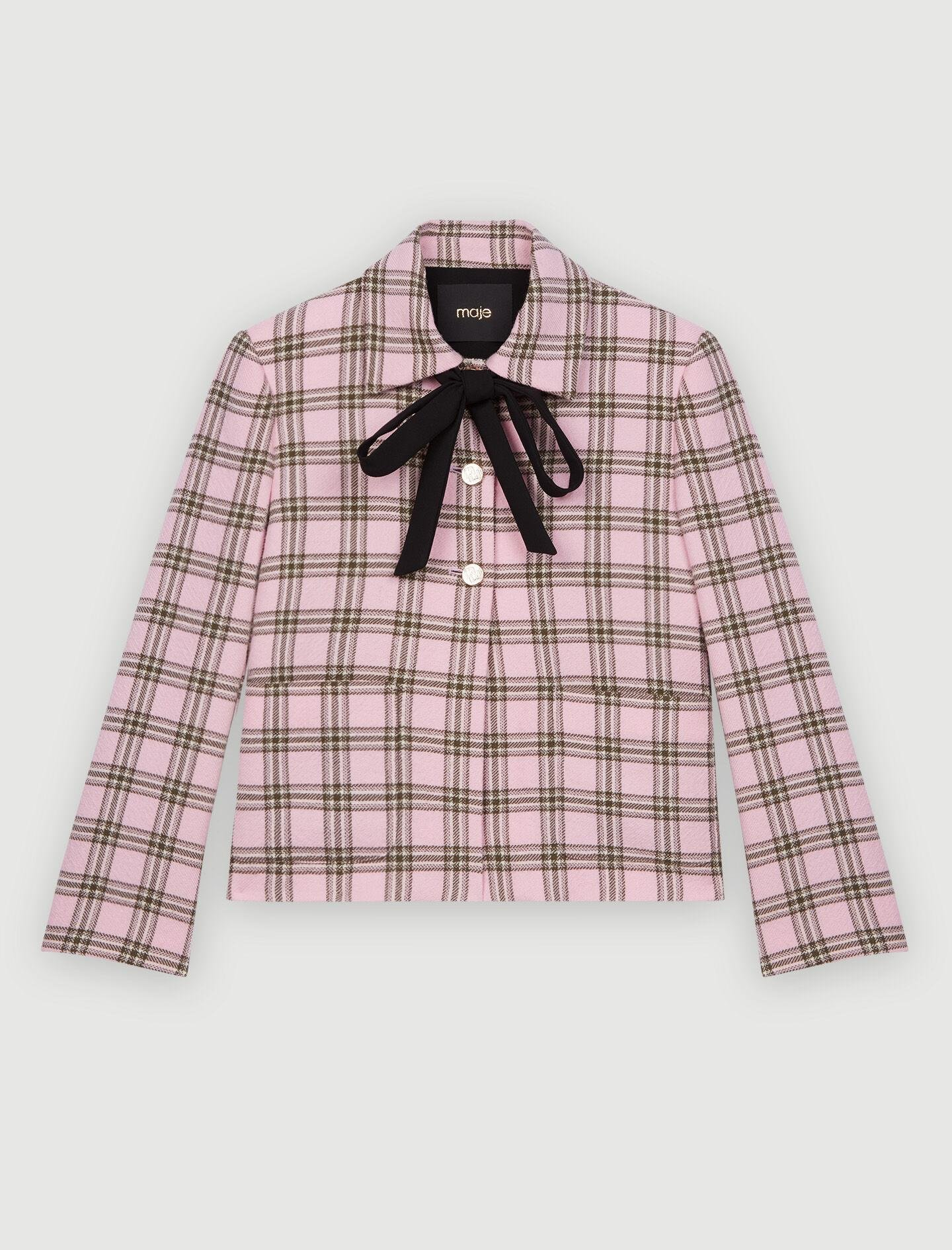 CHECKED JACKET WITH CONTRASTING NECKTIE 5