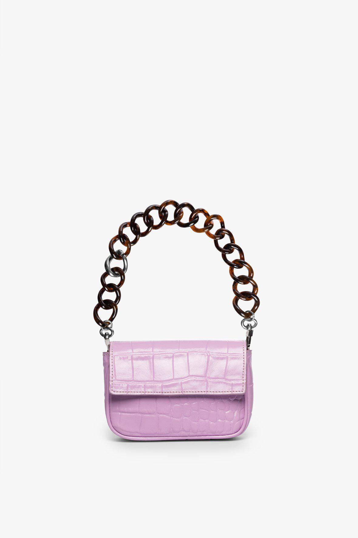 MINI TOMMY CHAIN BAG   LAVENDER CROC EMBOSSED