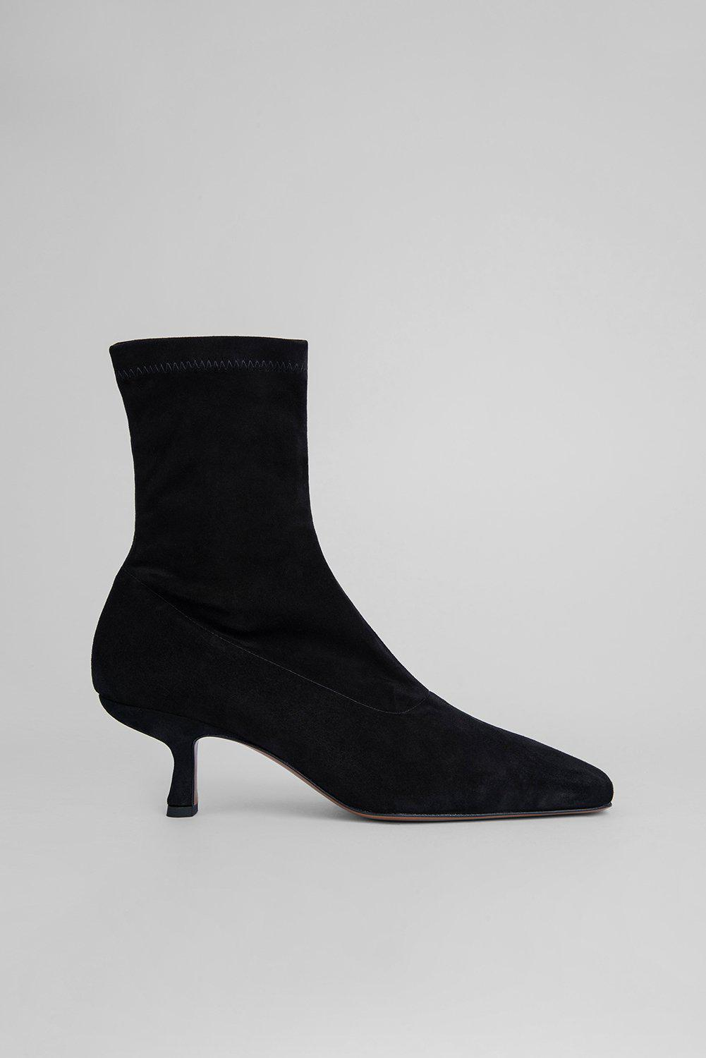 Audrey Black Stretch Suede Leather