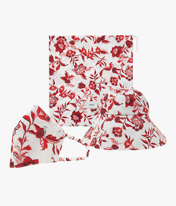 Hat, Mask and Pouch Set Romney Floral Poplin White