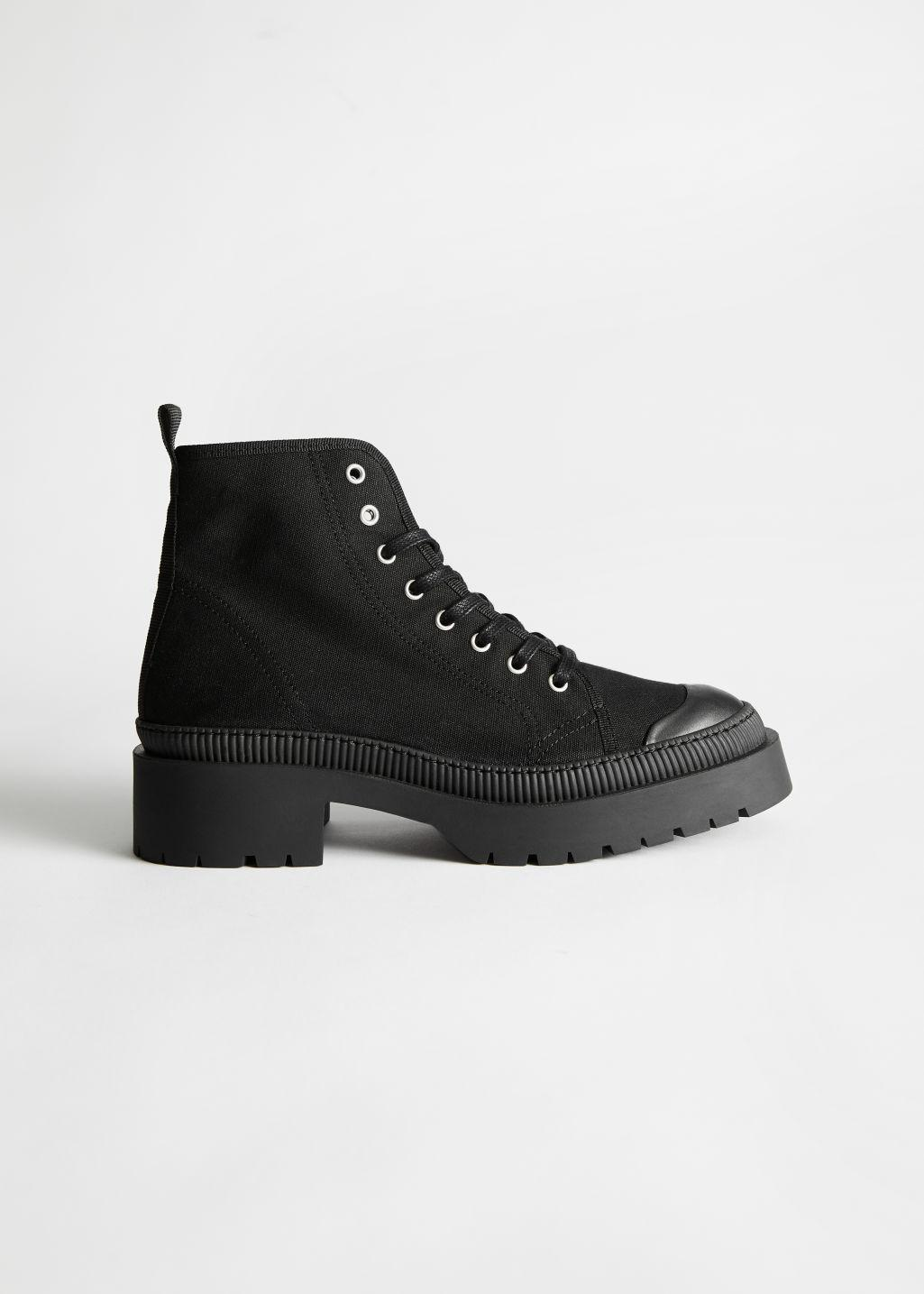 Chunky Canvas Lace Up Boots