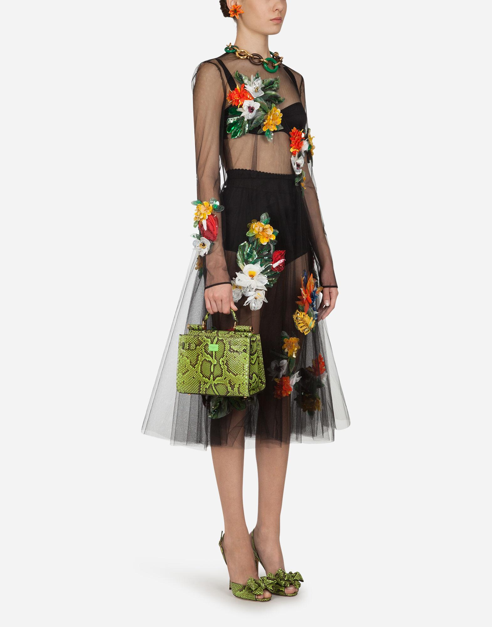 Longuette dress in tulle with embroidery