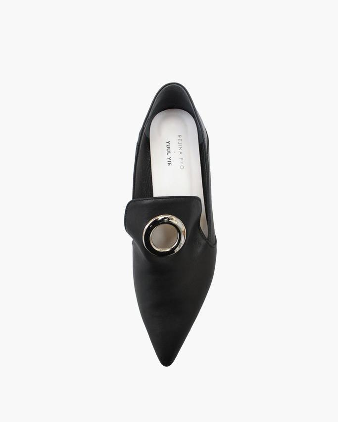 Eyelet Peek-a-Boo Loafer with White Heel Leather Black - SPECIAL PRICE 1