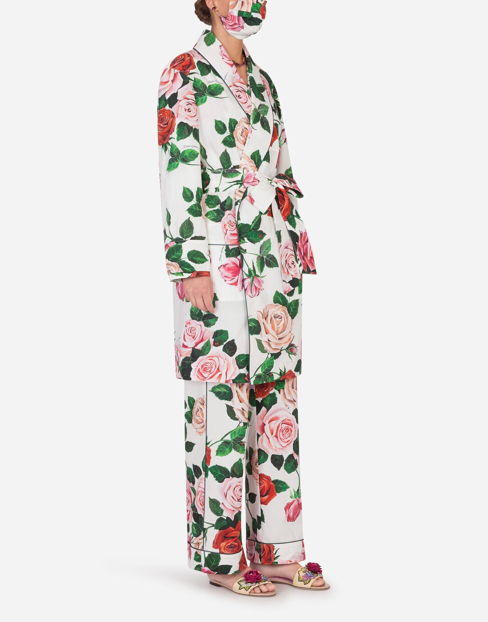 Rose-print robe with matching face mask 2