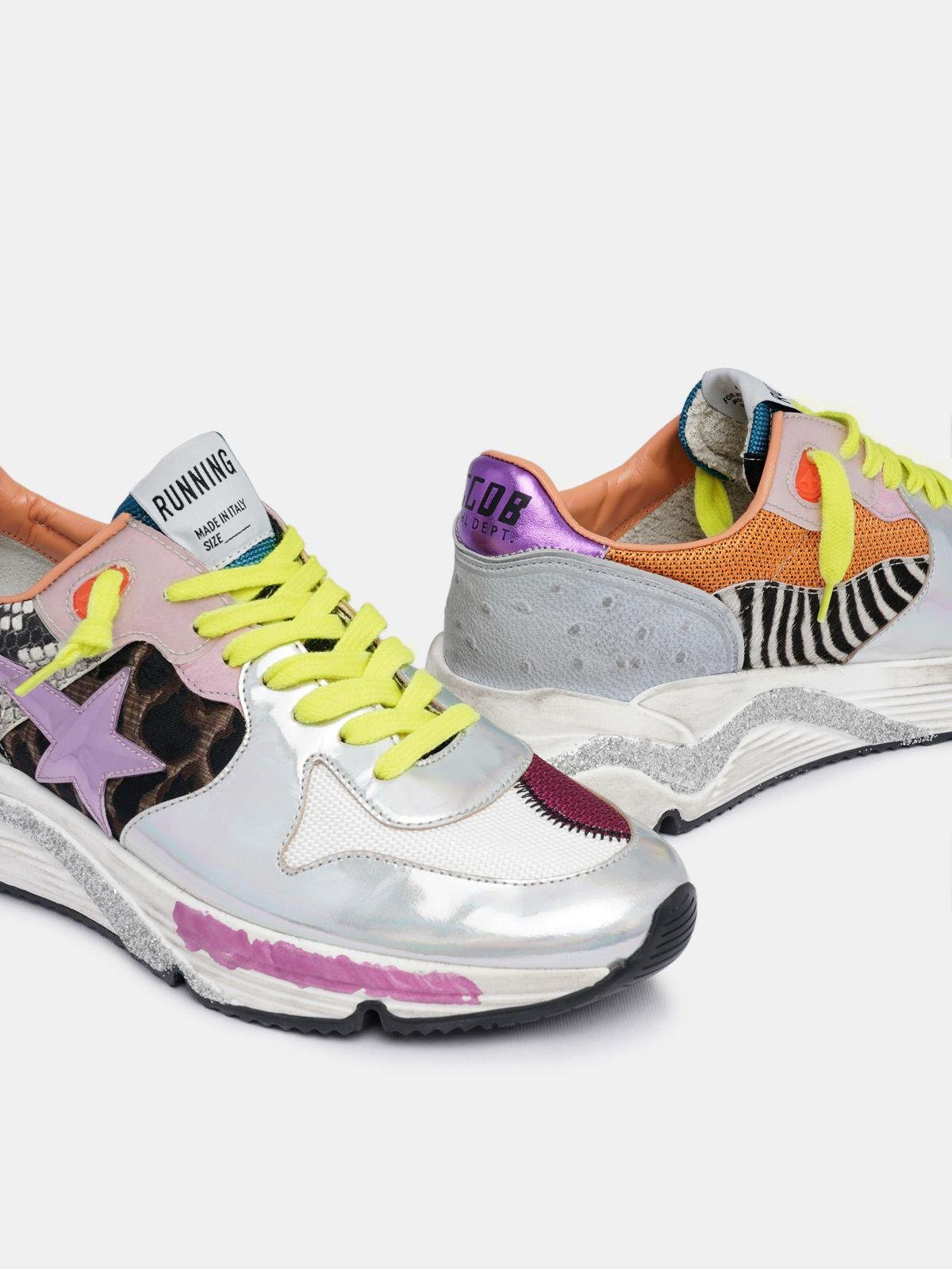 Holographic Running Sole sneakers with animal-print inserts 3