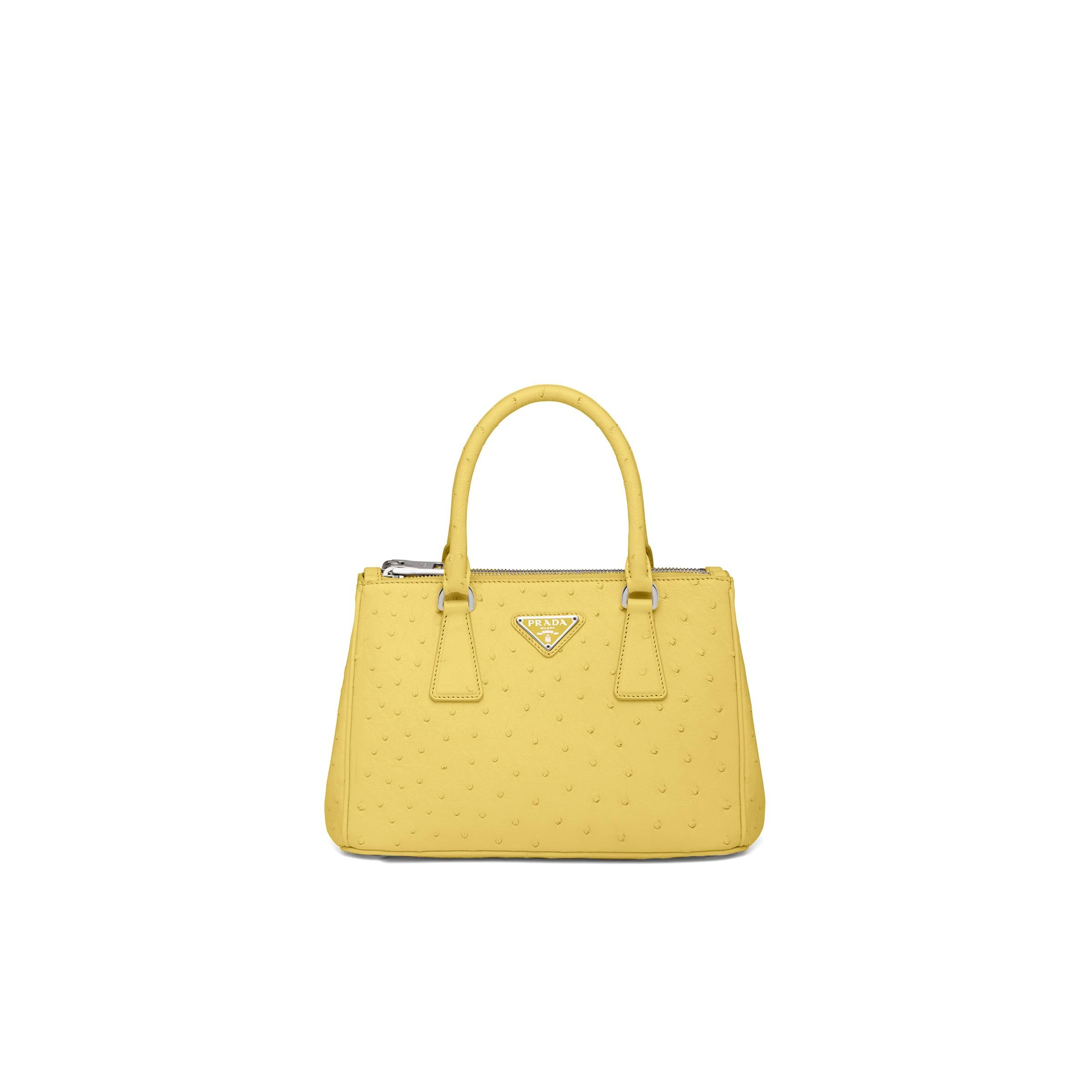 Galleria Ostrich Leather Small Bag Women Pineapple Yellow