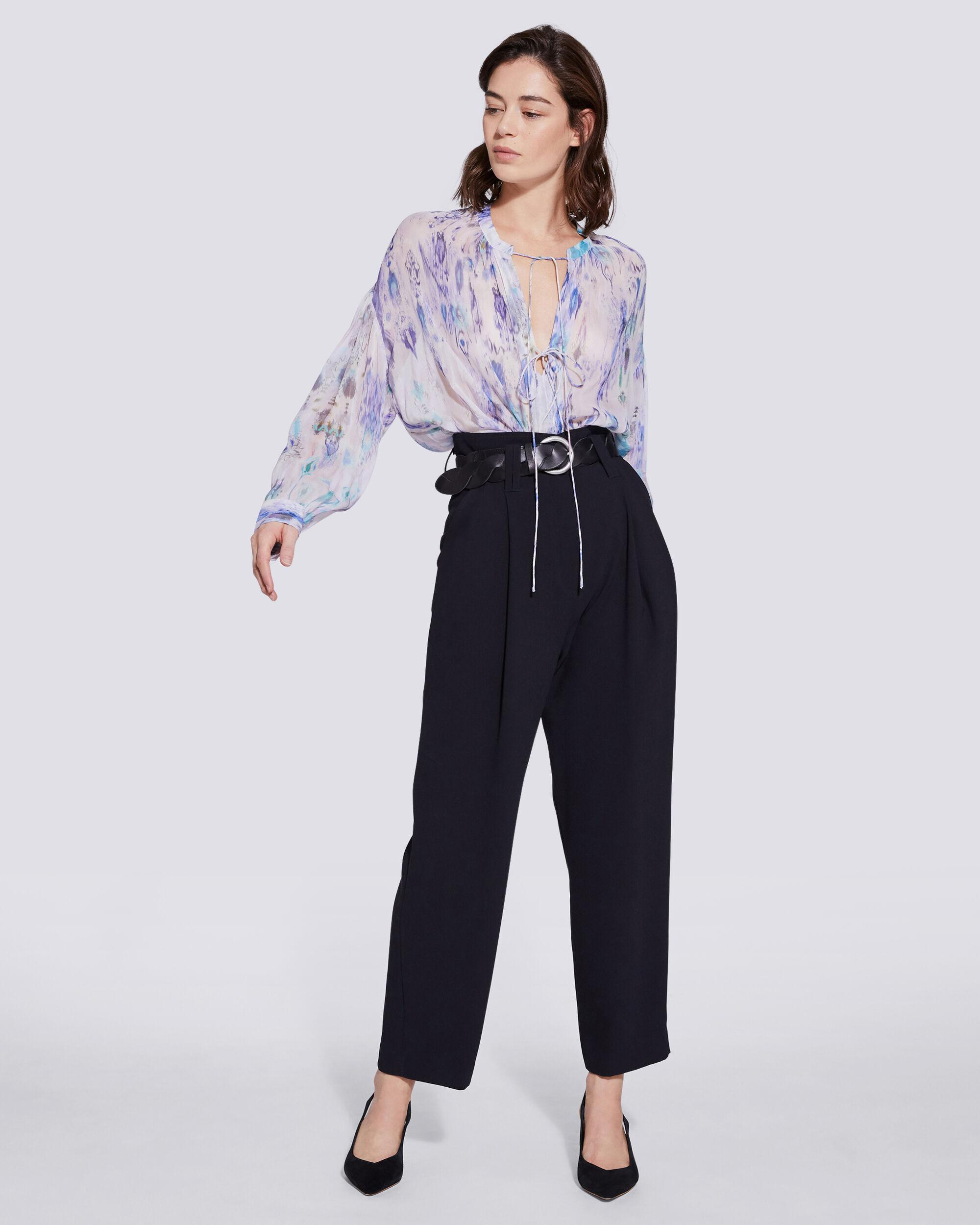 LADE TIE FRONT SHEER PRINTED BLOUSE
