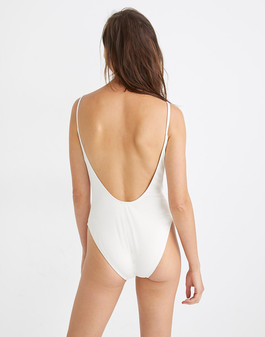 Madewell Second Wave Ribbed Low-V One-Piece Swimsuit 2
