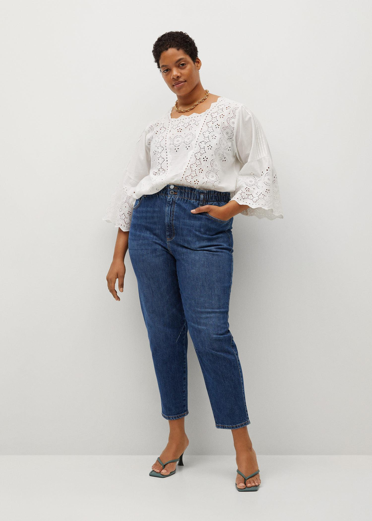 Cropped paperbag jeans