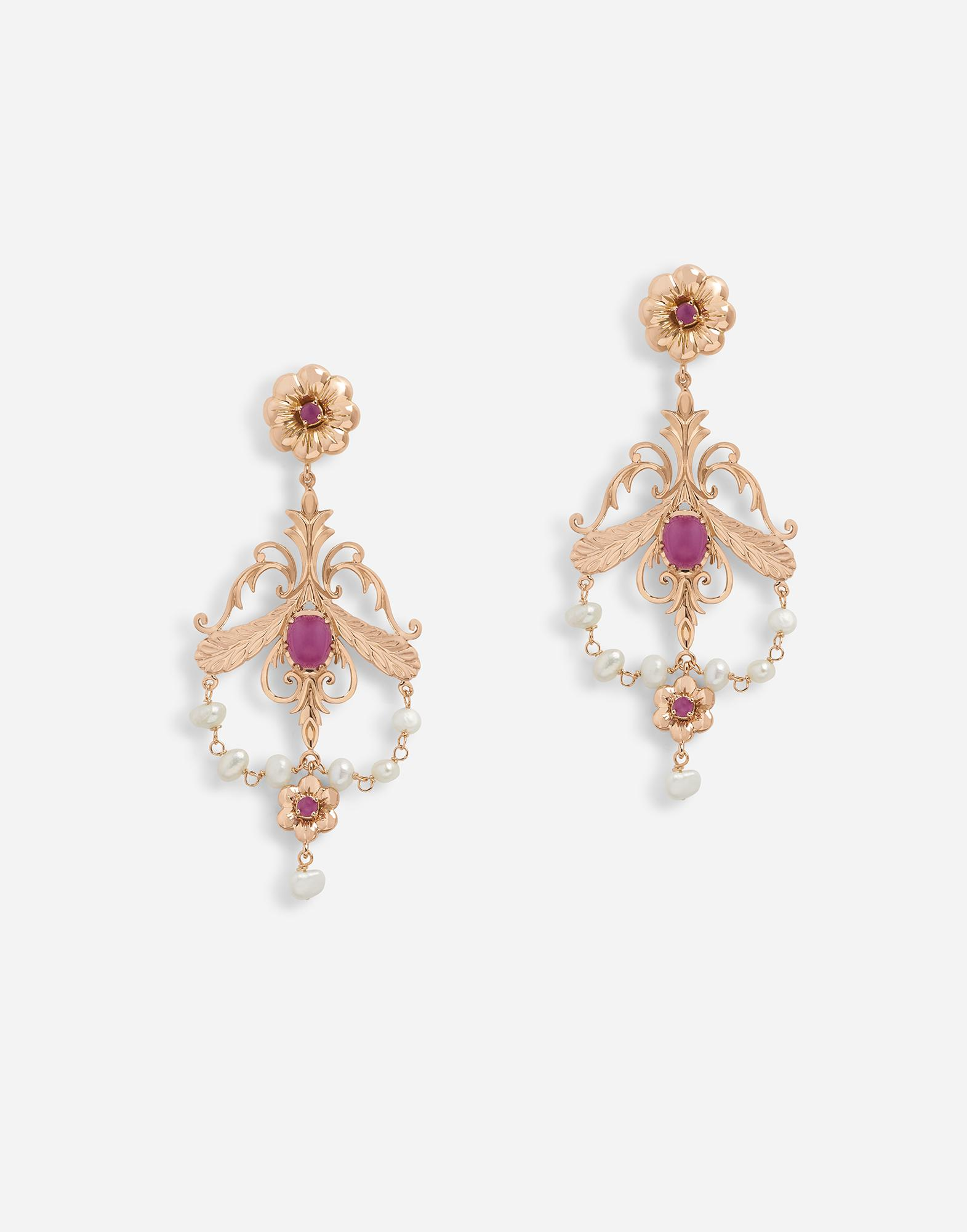 Baroque-style earrings with rubies