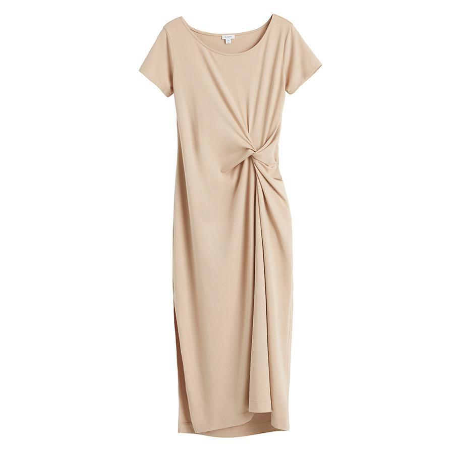 Women's Gathered Front Tee Dress in Dune | Size: Small | Pima Modal Spandex Blend by Cuyana 0