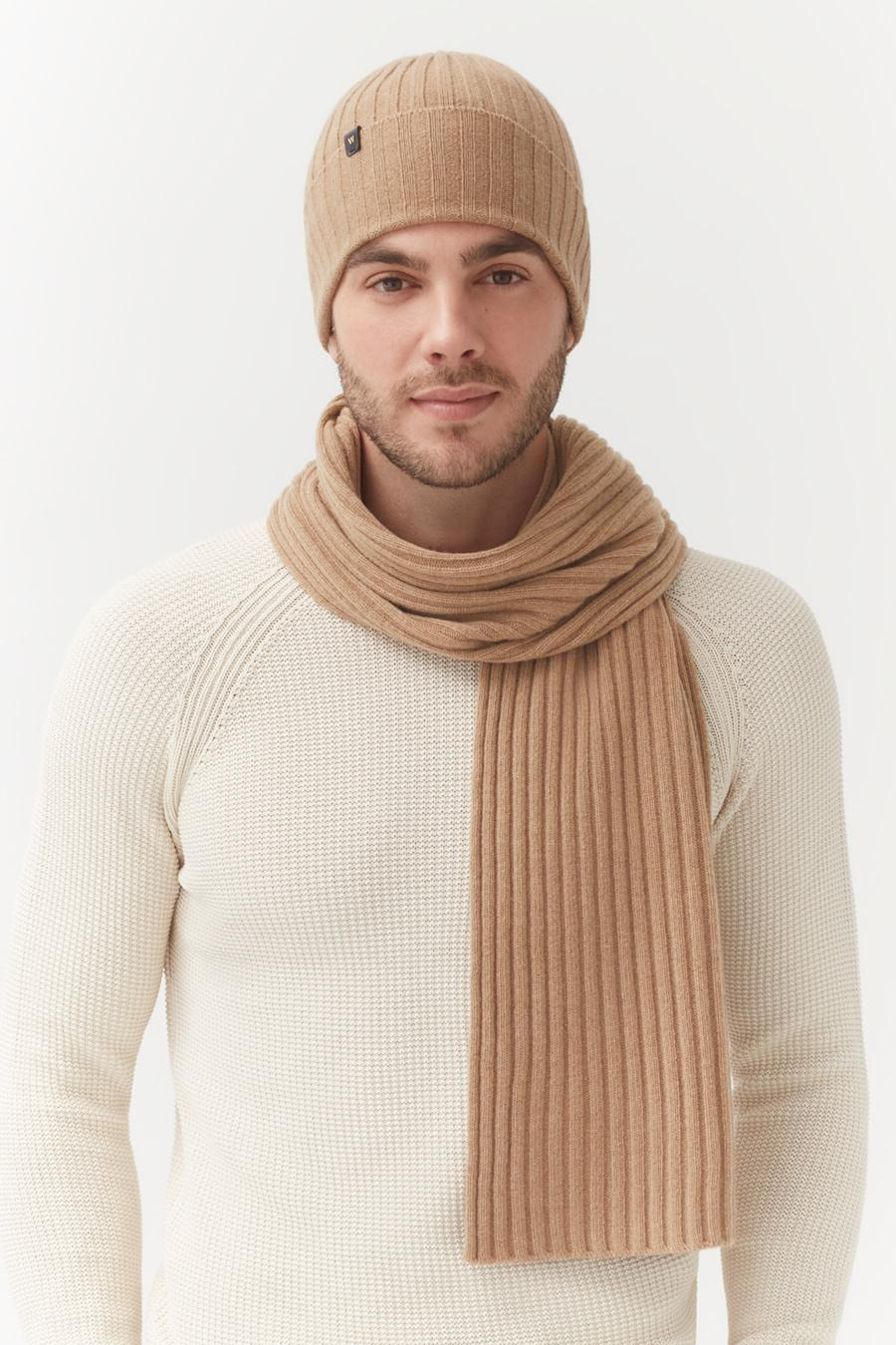 Women's Wool Cashmere Ribbed Beanie in Camel   Wool Cashmere Blend by Cuyana 2