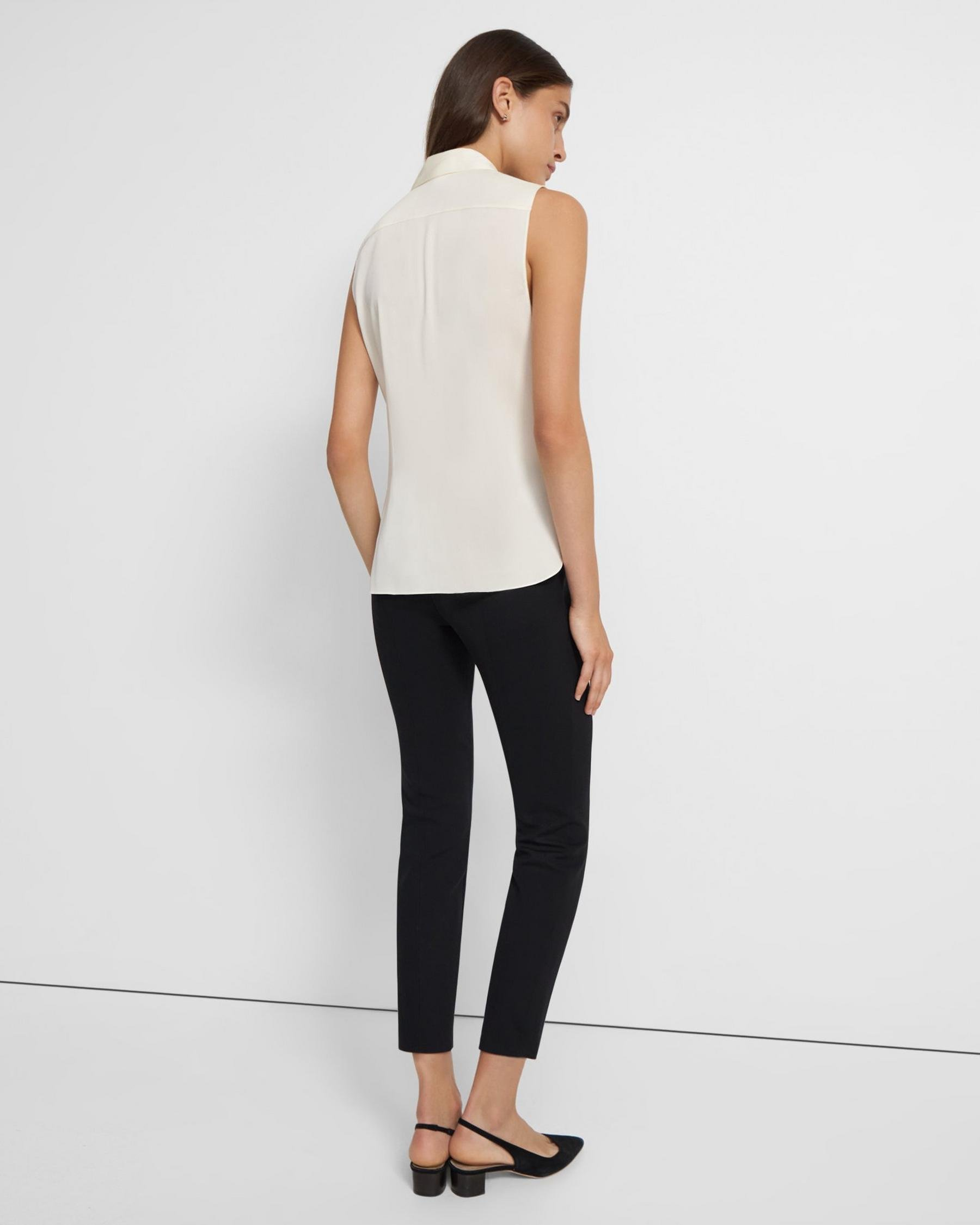 Fitted Sleeveless Shirt in Stretch Silk 3