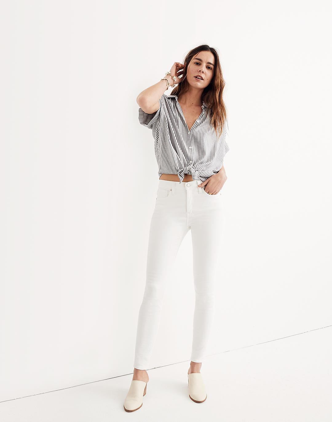 """Petite 9"""" Mid-Rise Skinny Jeans in Pure White 0"""