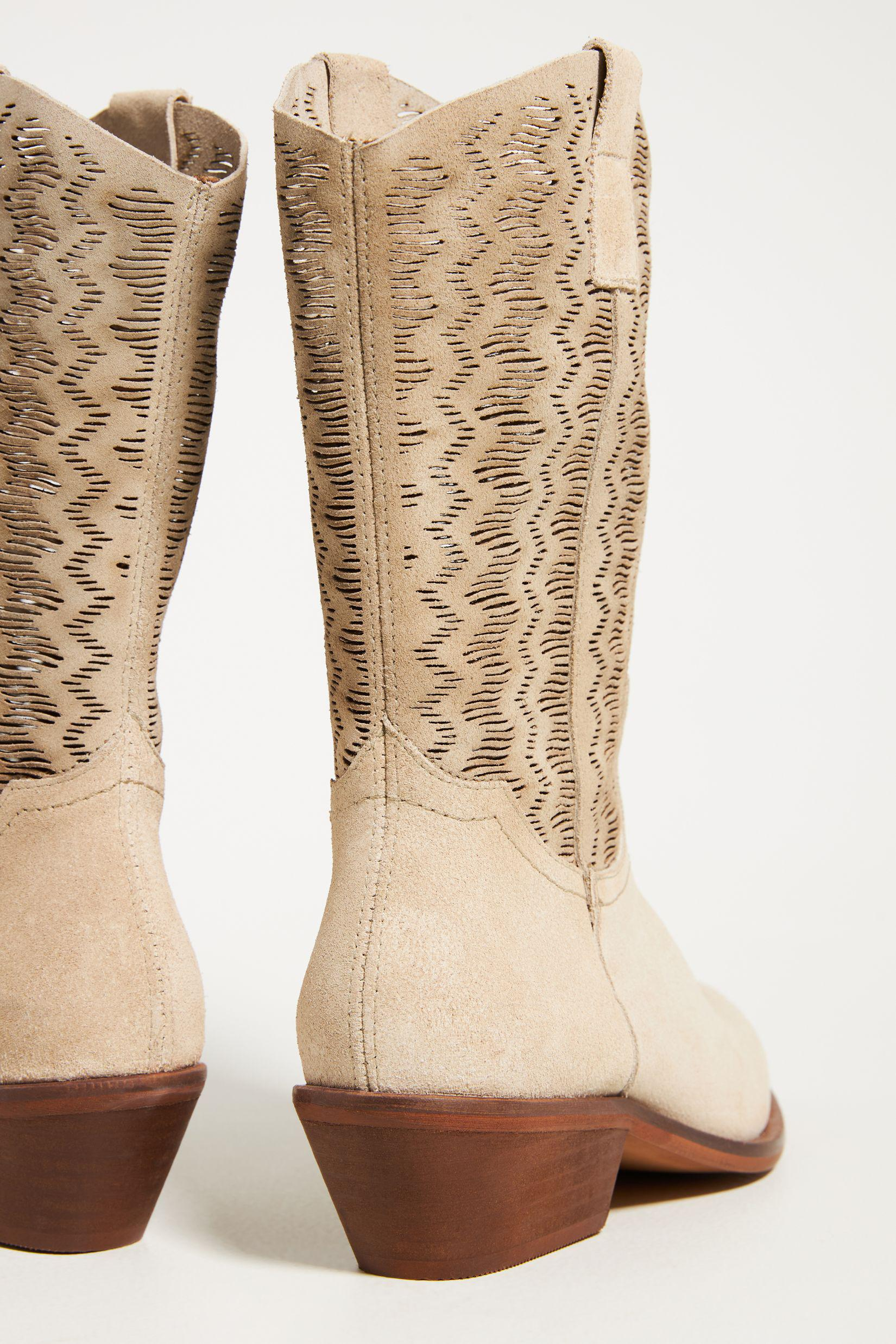 Cut-Out Suede Western Boots 3