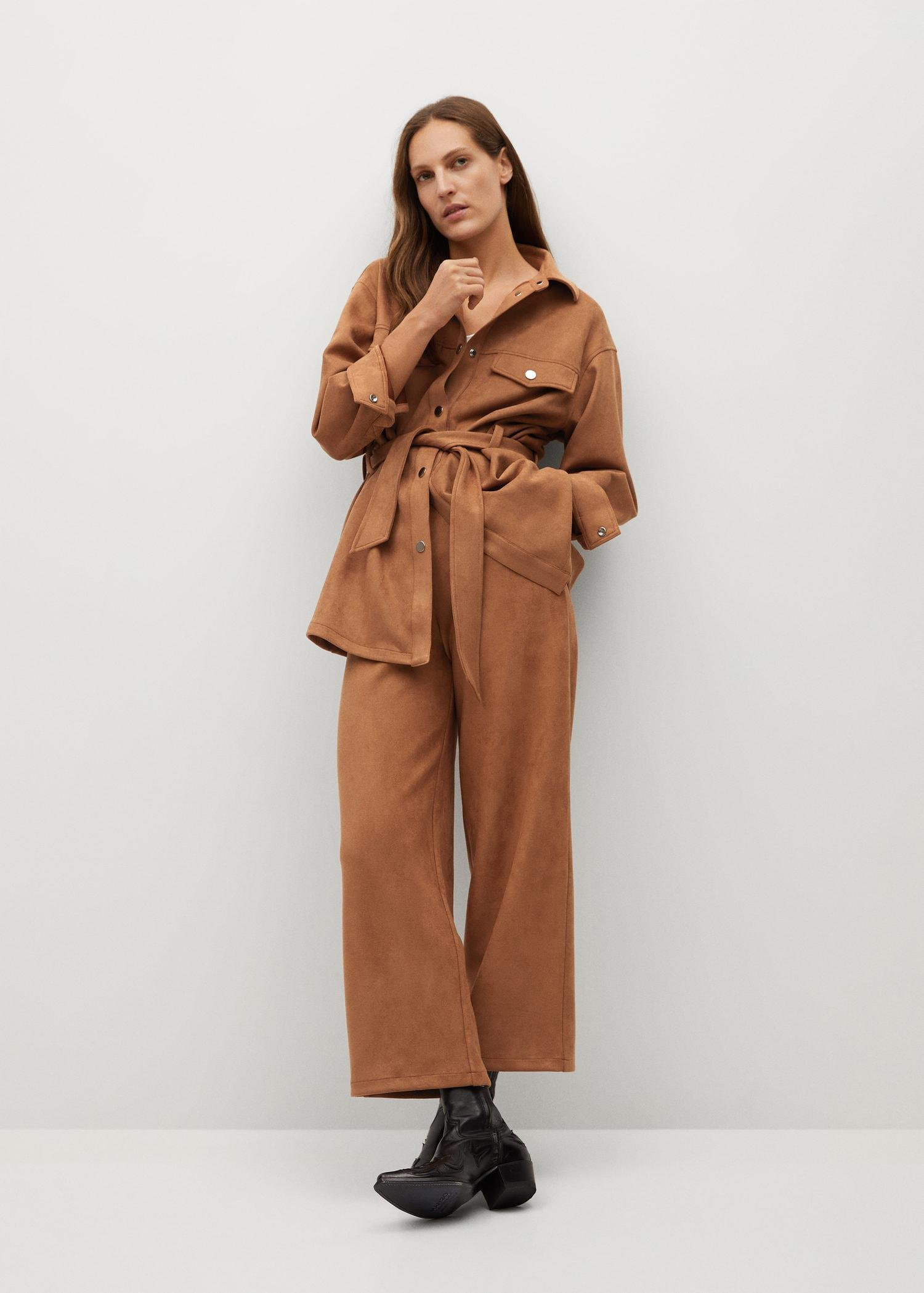 Leather-effect jacket with belt