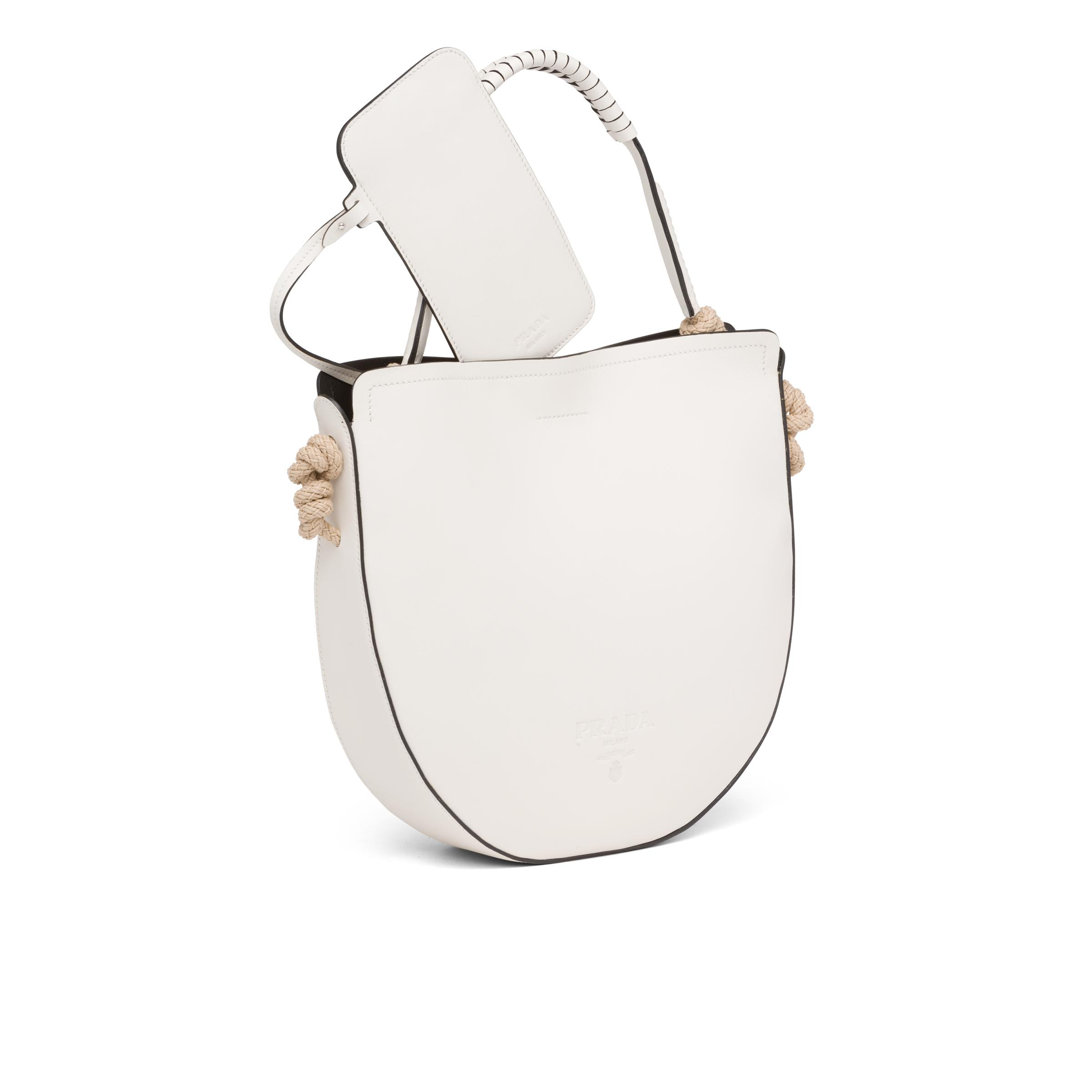 Leather Bag With Cord Details Women White/black 5