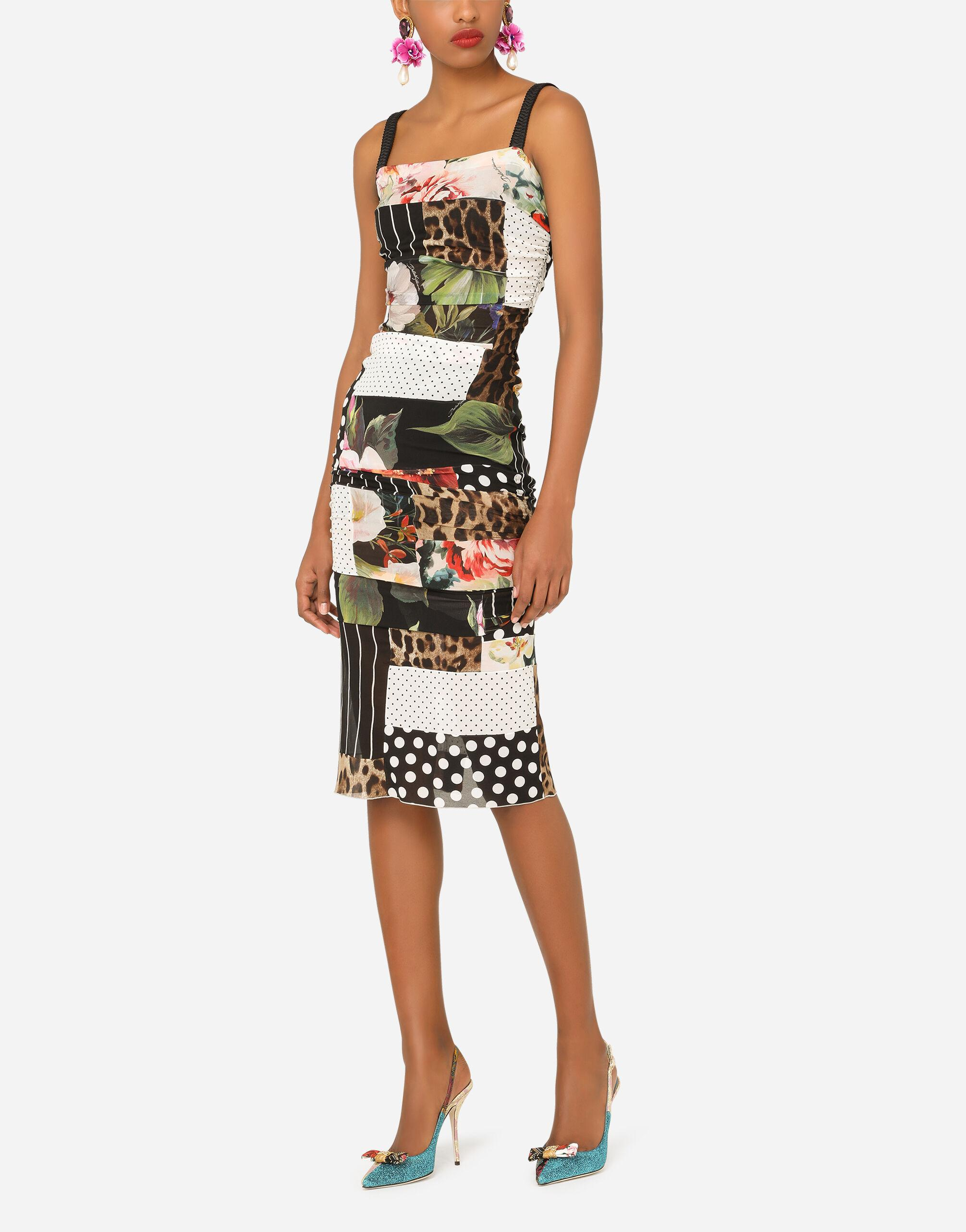 Patchwork chiffon and georgette dress with draping 3