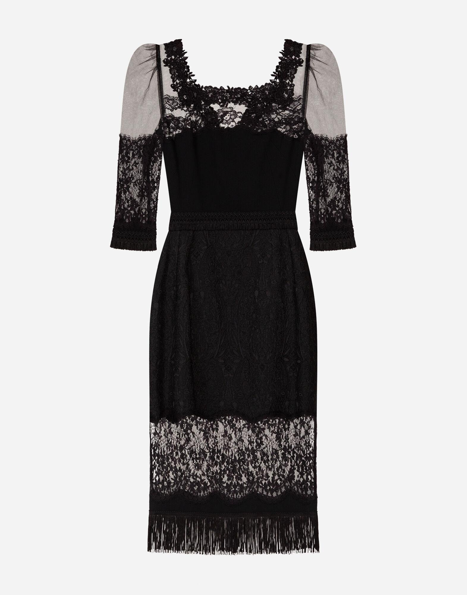 Cady and brocade midi dress with lace inserts 5