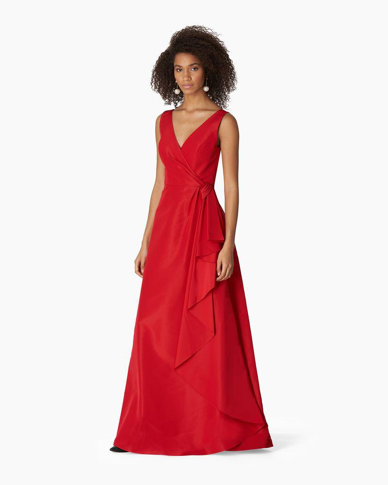 V-neck Gown With Cascade Draped Skirt 2