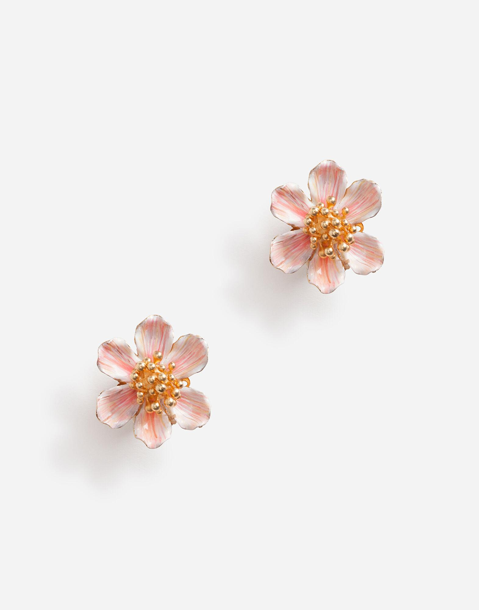 Clip-on earrings with hand-painted flower
