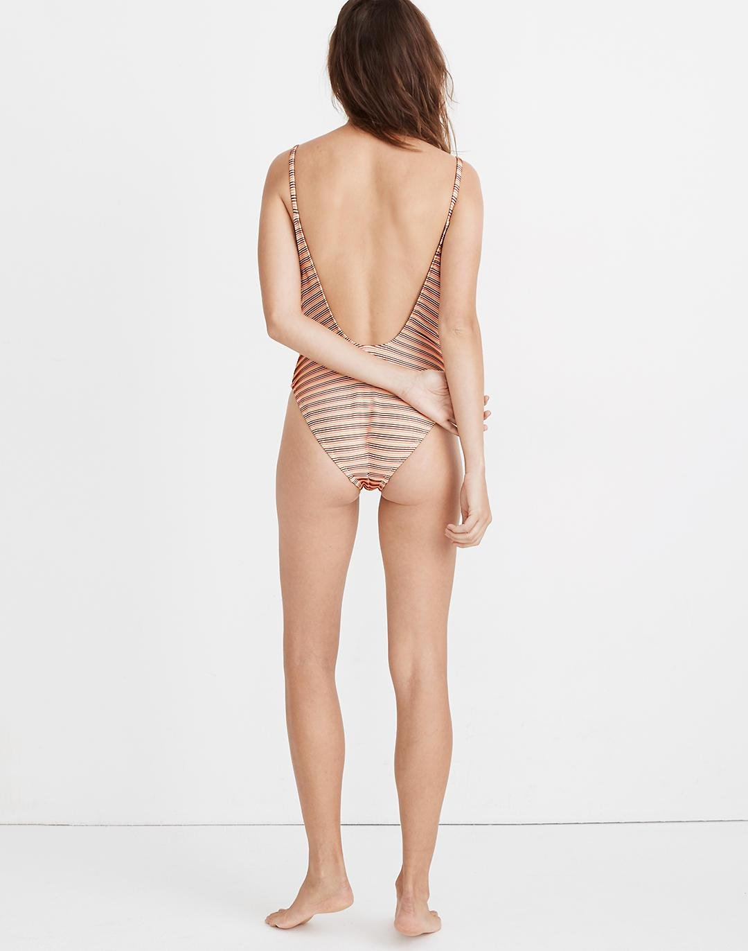 Madewell Ribbed Low-V One-Piece Swimsuit in Ombré Stripe 2