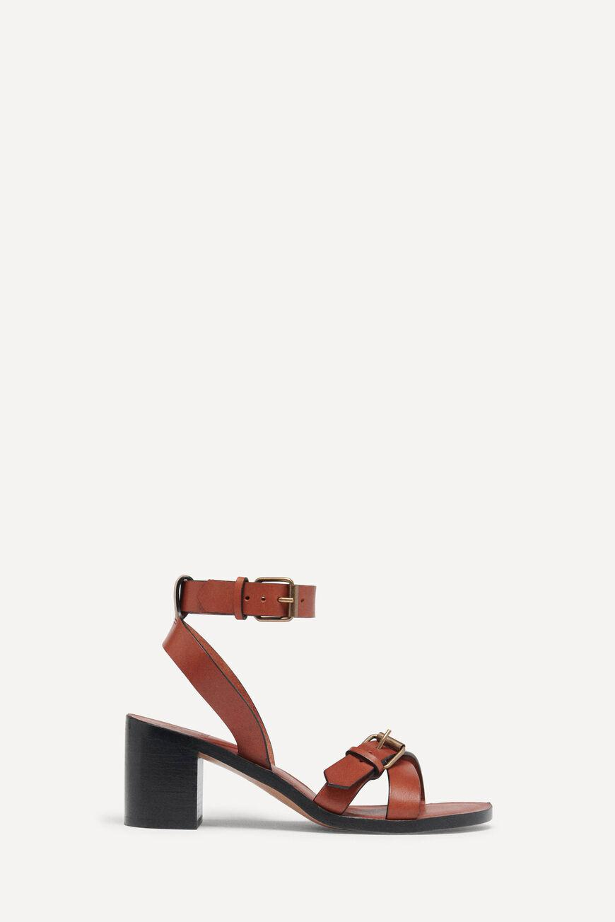 cathalya.LEATHER SANDALS WITH HEEL