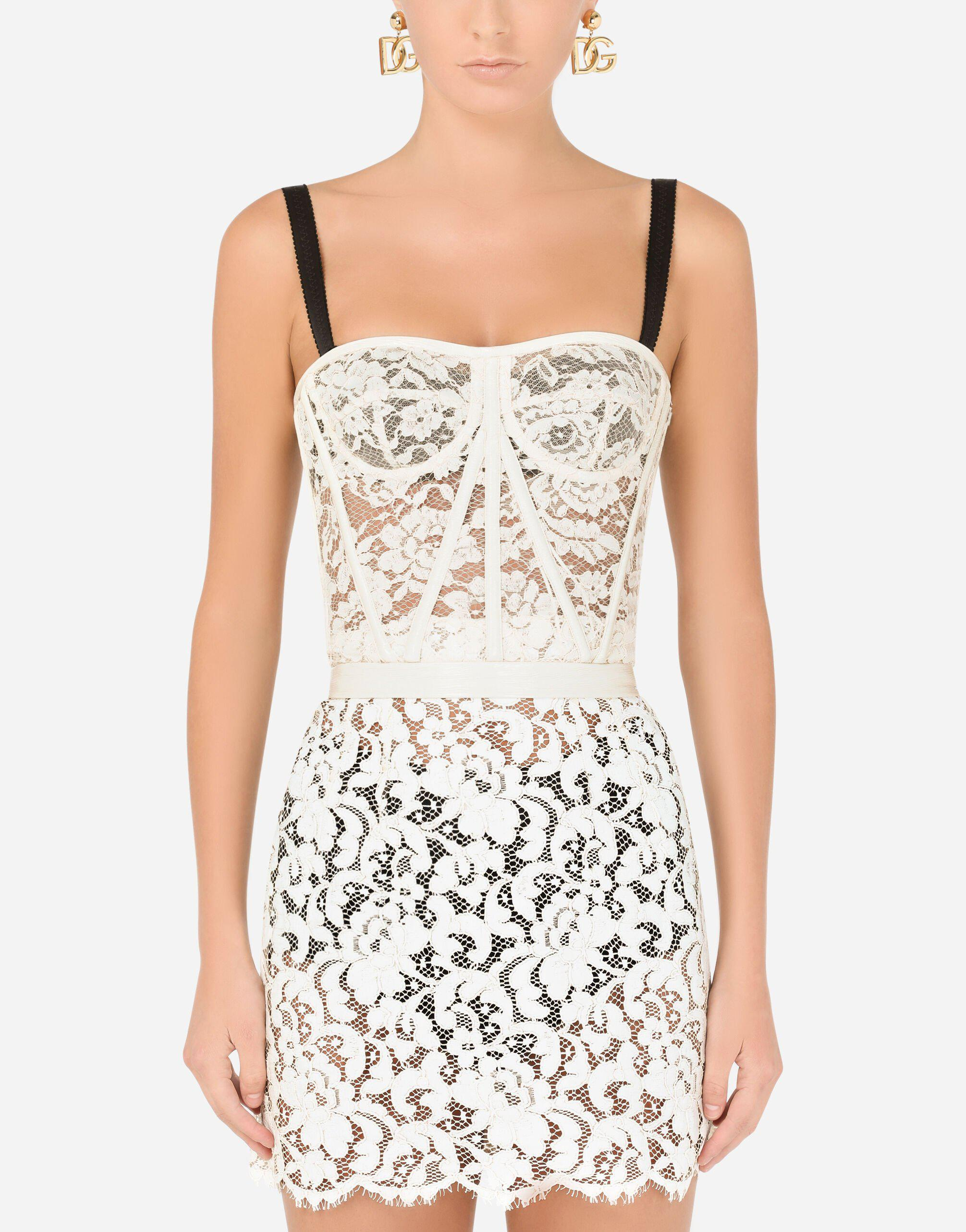 Laminated lace bustier