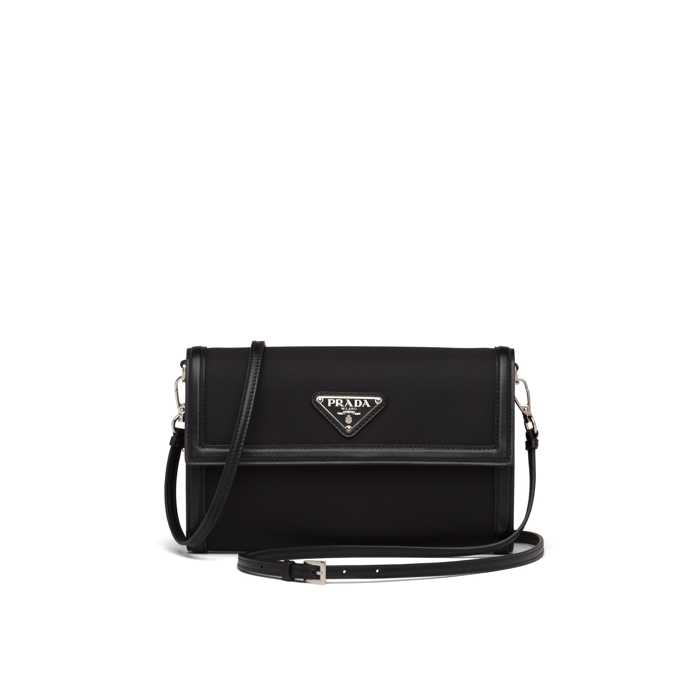 Nylon And Leather Wallet With Shoulder Strap Women Black