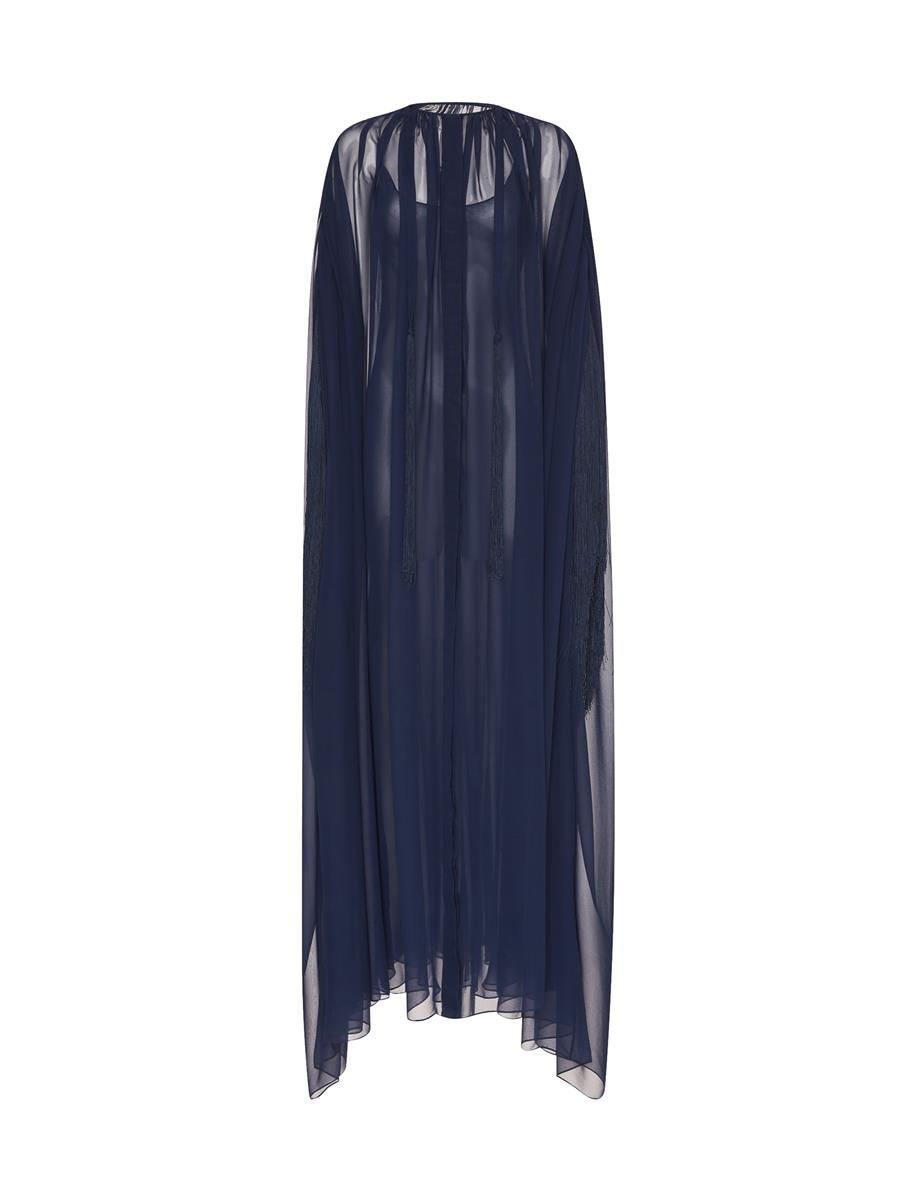 FRINGED BUTTON FRONT SILK CAFTAN 3