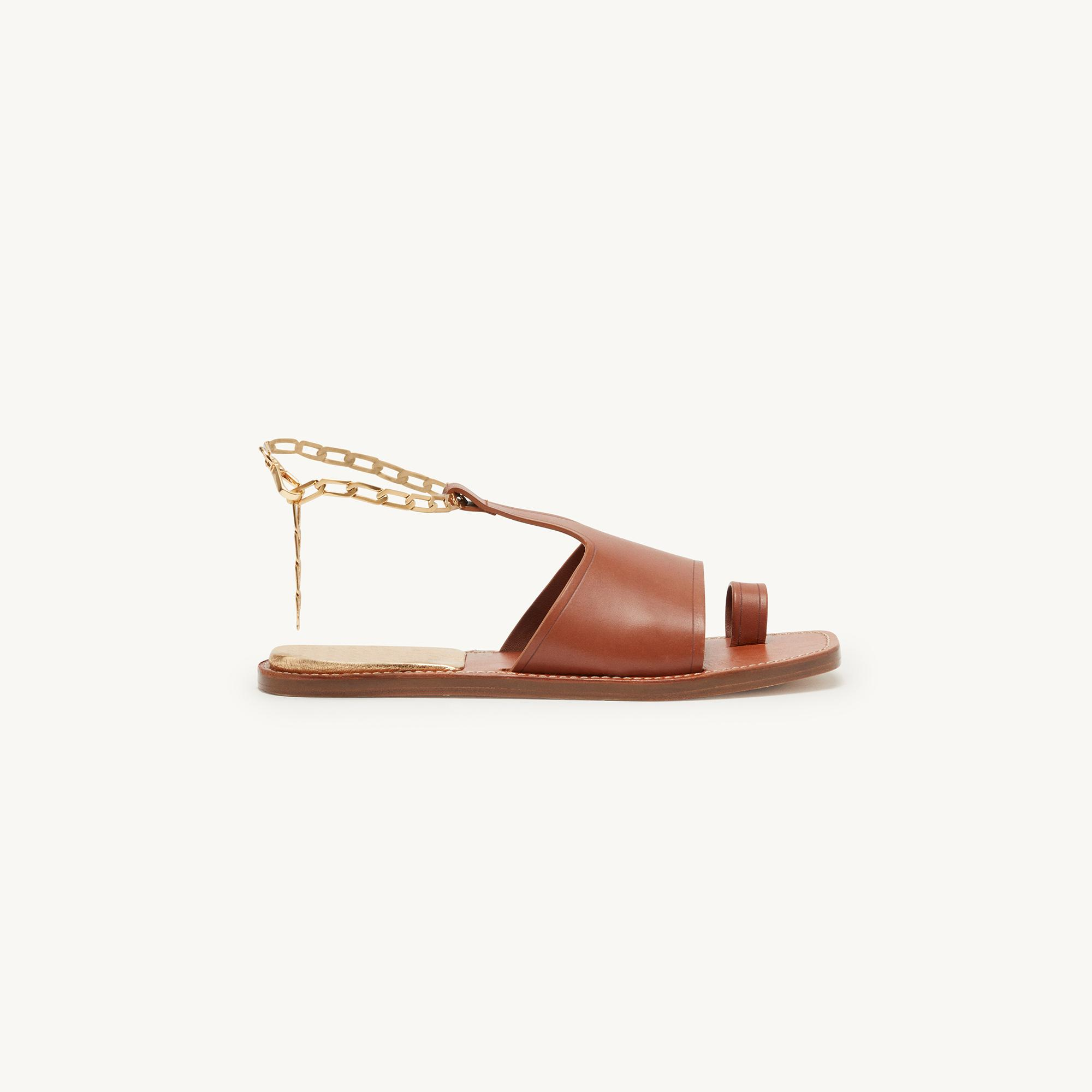Leather sandals with chain detail 1