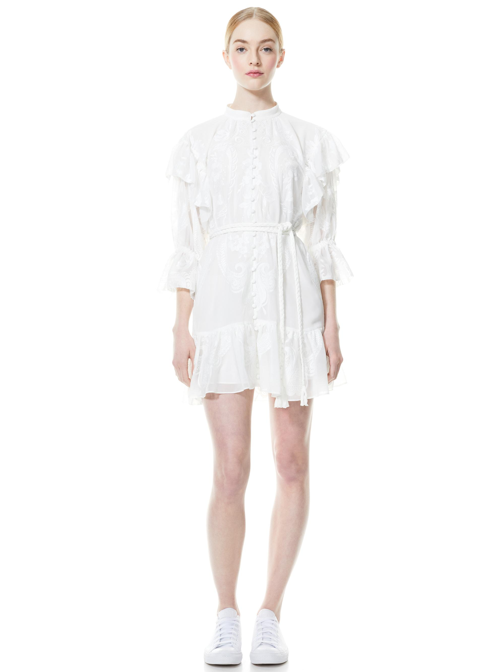 TEDDI BUTTON FRONT BELTED MINI DRESS